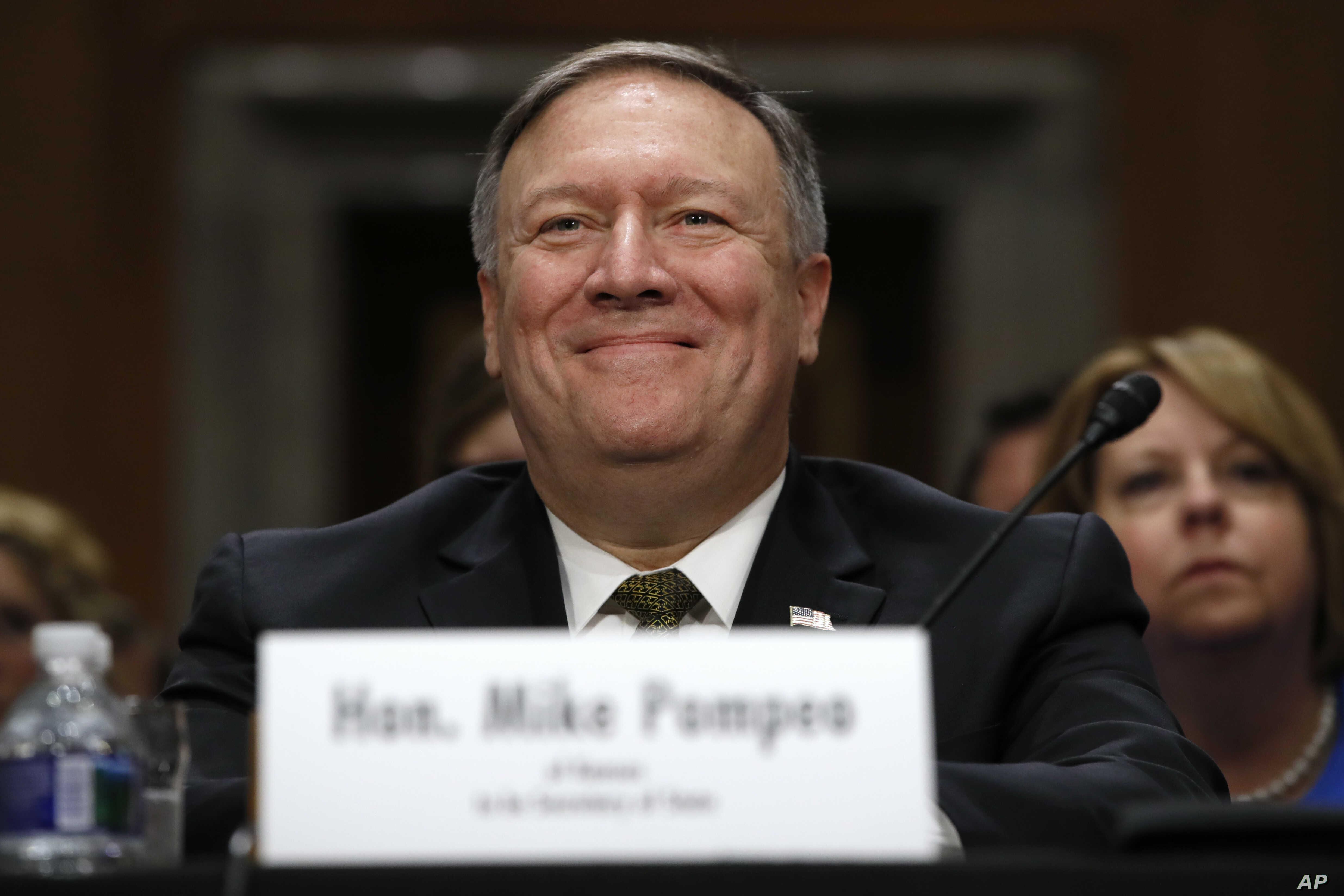 CIA Director Mike Pompeo, picked to be the next secretary of state, smiles after his introductions before the Senate Foreign Relations Committee during a confirmation hearing on his nomination to be Secretary of State, Thursday, April 12, 2018 on Cap