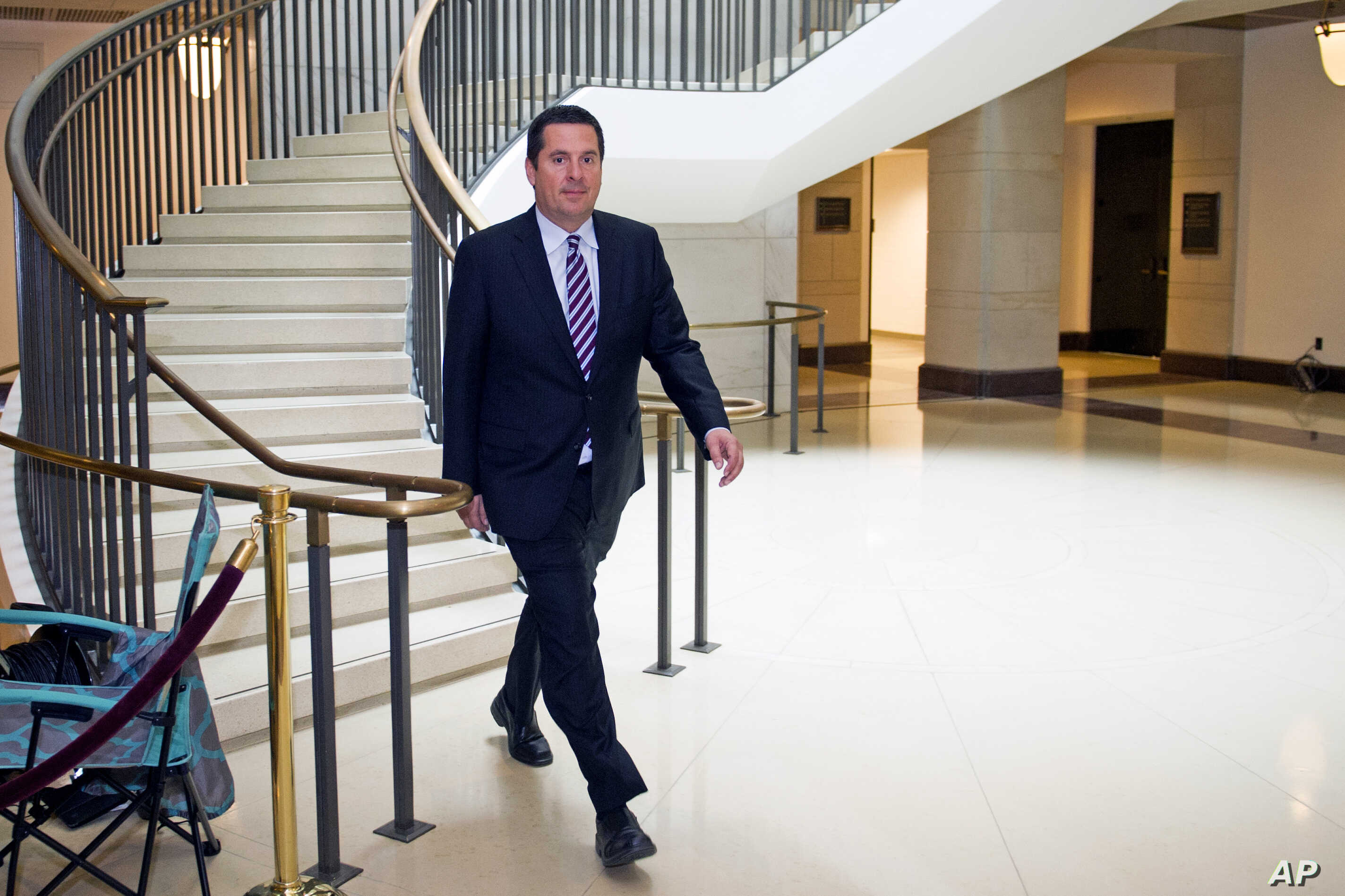 House Intelligence Committee Chairman Rep. Devin Nunes, R-California, walks to the House Intelligence Committee hearing room on Capitol Hill in Washington, Jan. 17, 2018.