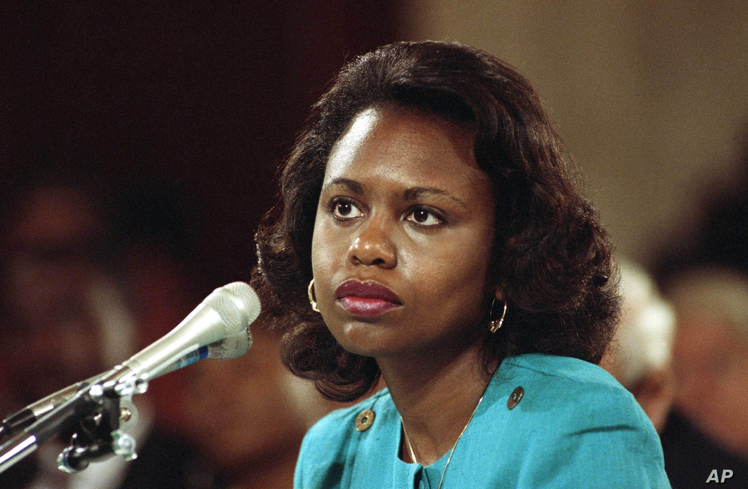 FILE - Anita Hill, a University of Oklahoma law professor, testified during confirmation hearings before the Senate Judiciary Committee in 1991 that Clarence Thomas, a Supreme Court nominee, had sexually harassed her when they worked together in prev...
