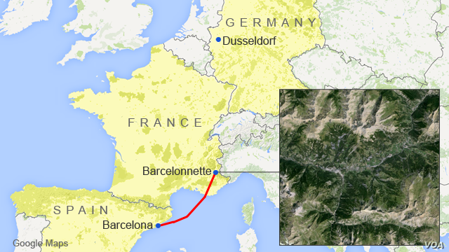 Map showing locations of Dusseldorf, Barcelona, and Barcelonnette, with a satellite inset of the crash site