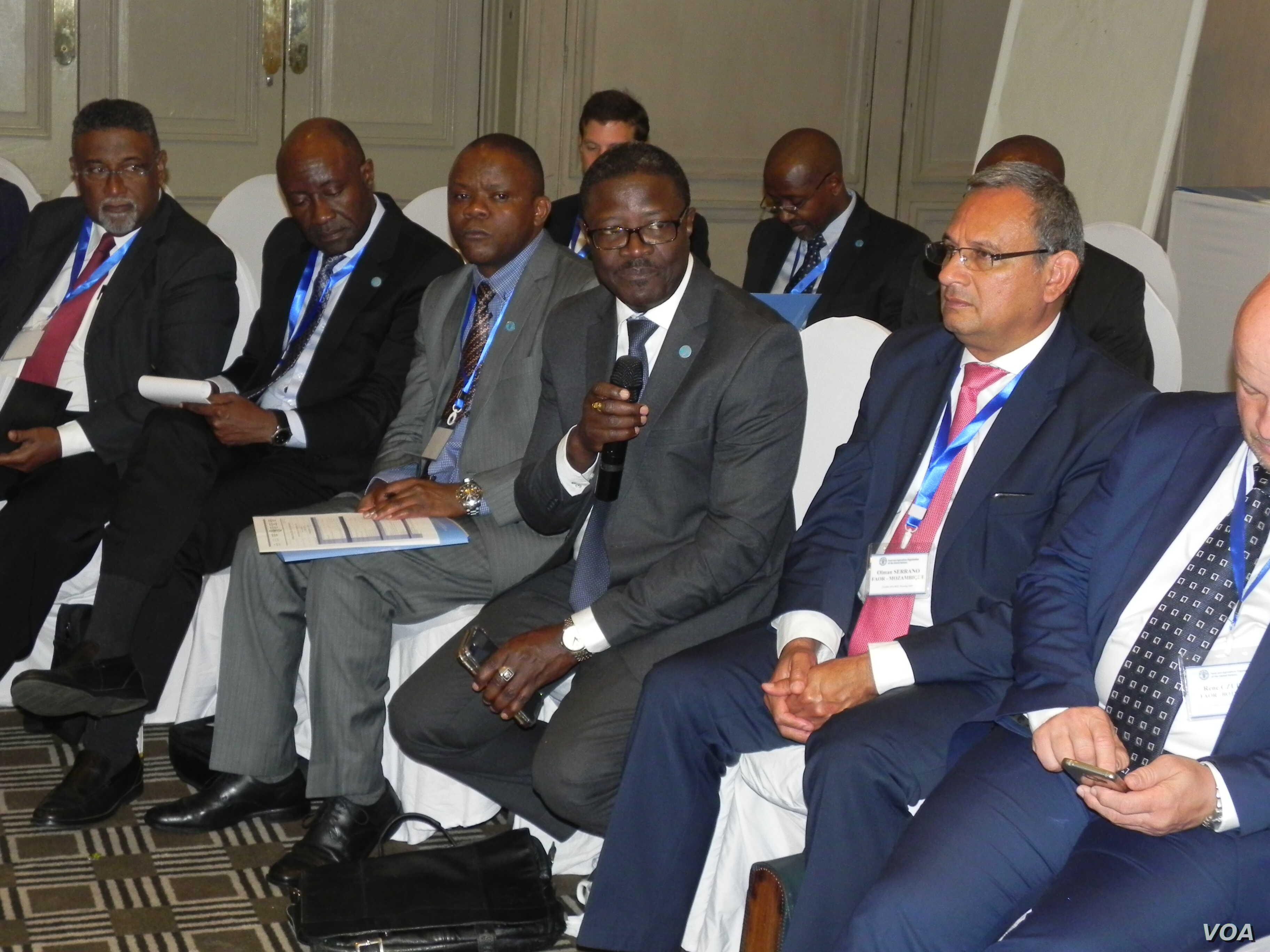 Patrick Kormawa the coordinator for the FAO in Southern Africa addressing a regional meeting in Harare, Zimbabwe, Sept. 5, 2018.