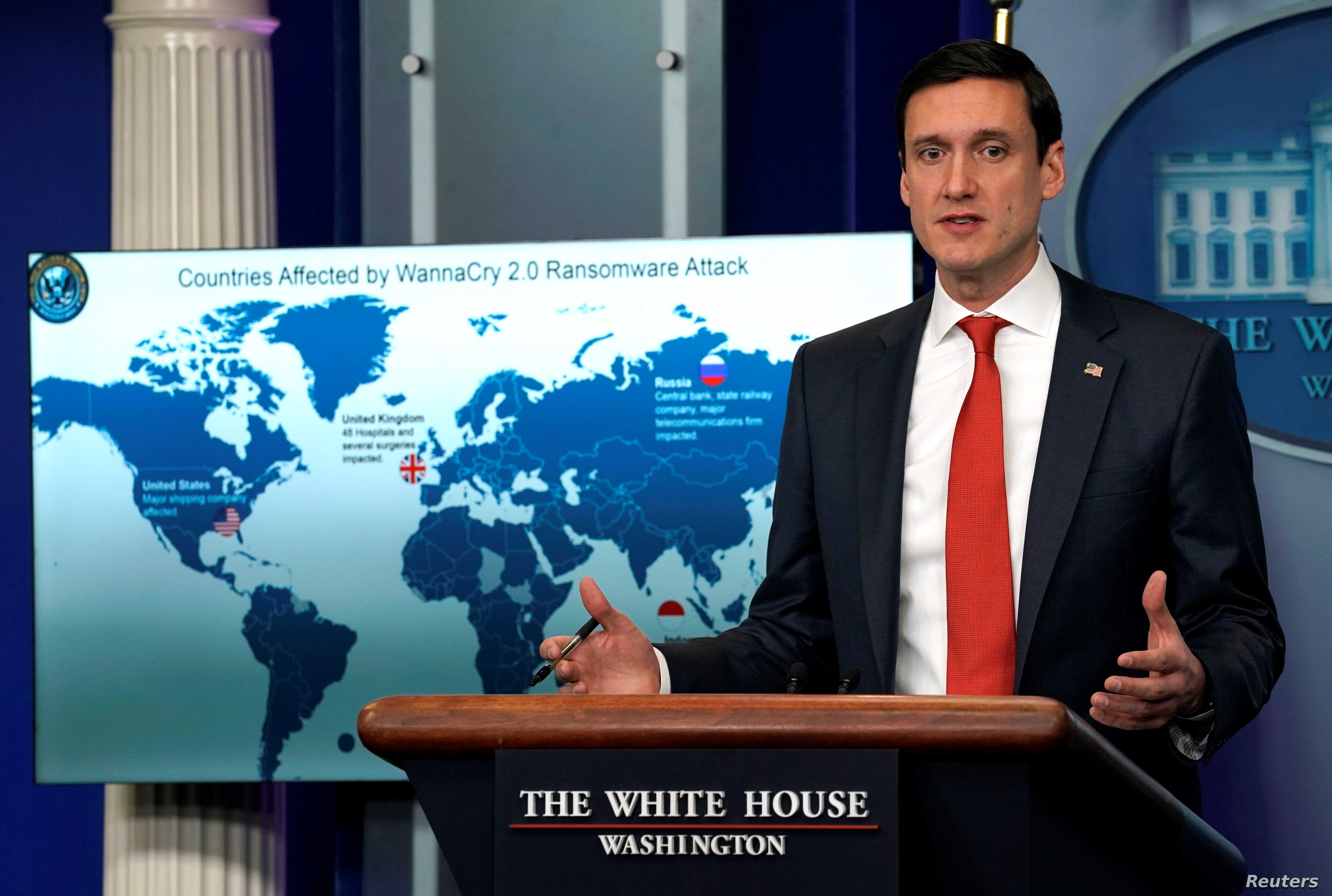 Tom Bossert, homeland security adviser to President Donald Trump, holds a press briefing to publicly blame North Korea for unleashing the so-called WannaCry cyber attack at the White House in Washington, Dec. 19, 2017.