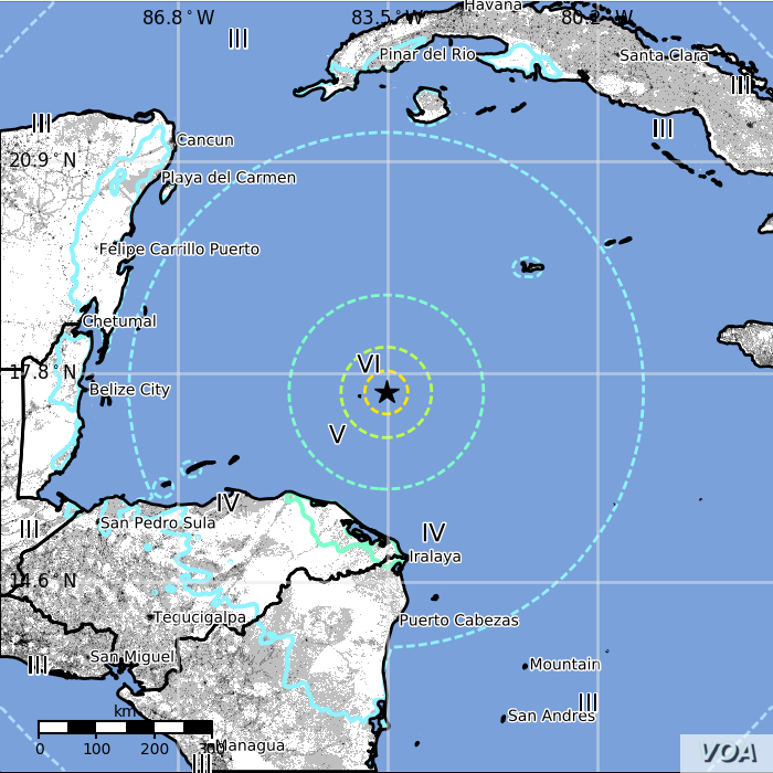 Location of earthquake, M 7.6 - 44km E of Great Swan Island, Honduras, Jan. 9, 2018.
