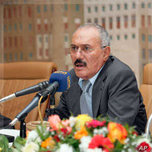 Yemen's outgoing President Ali Abdullah Saleh addresses a meeting of the ruling General People's Congress party in Sanaa December 7, 2011