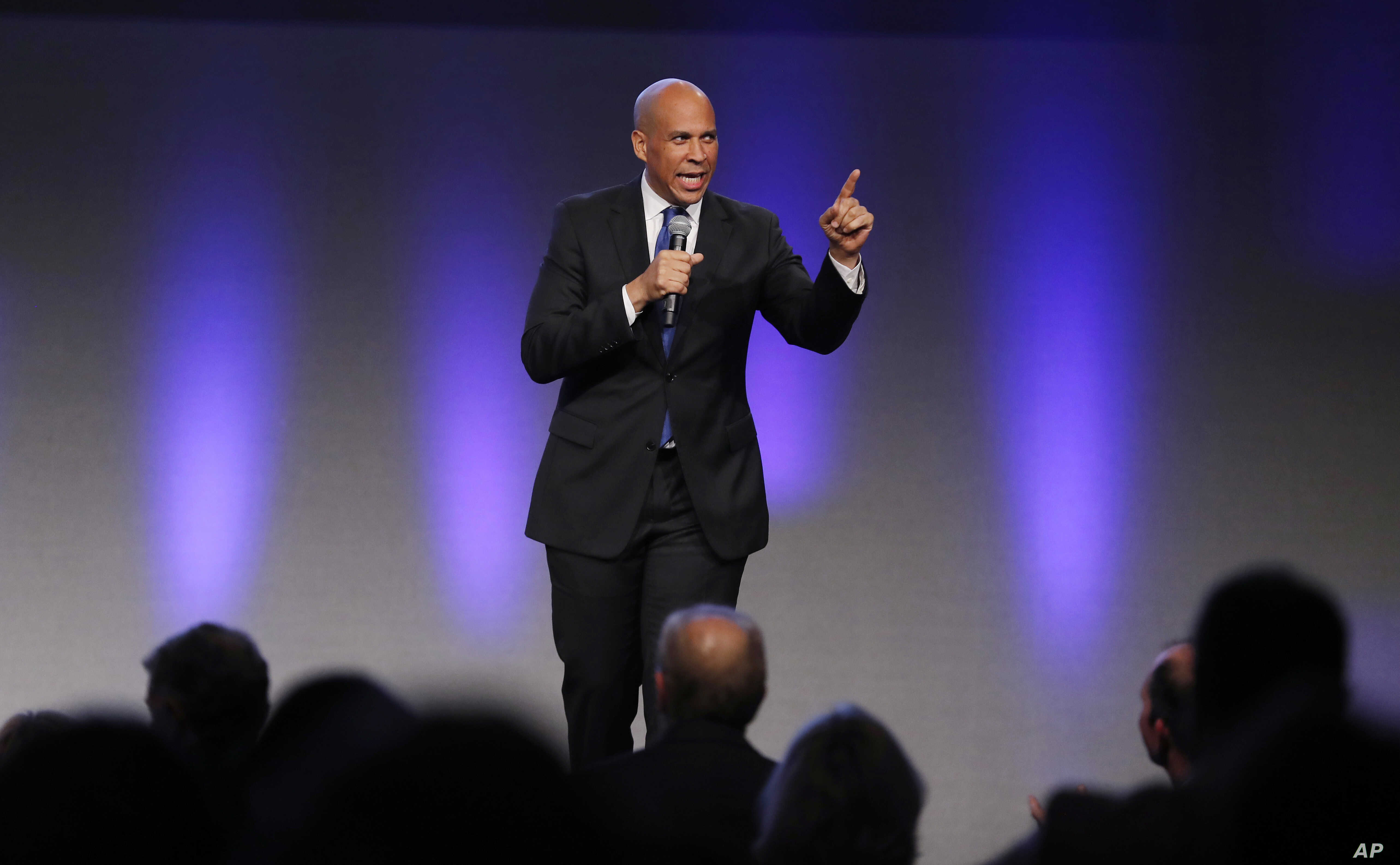 U.S. Sen. Cory Booker, D-N.J., speaks during the Iowa Democratic Party's annual Fall Gala in Des Moines, Iowa, Oct. 6, 2018.