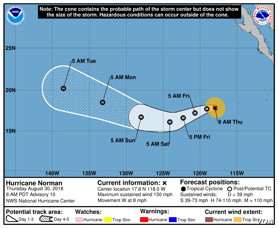 Norman Grows Into Category 4 Hurricane in Pacific   Voice of America