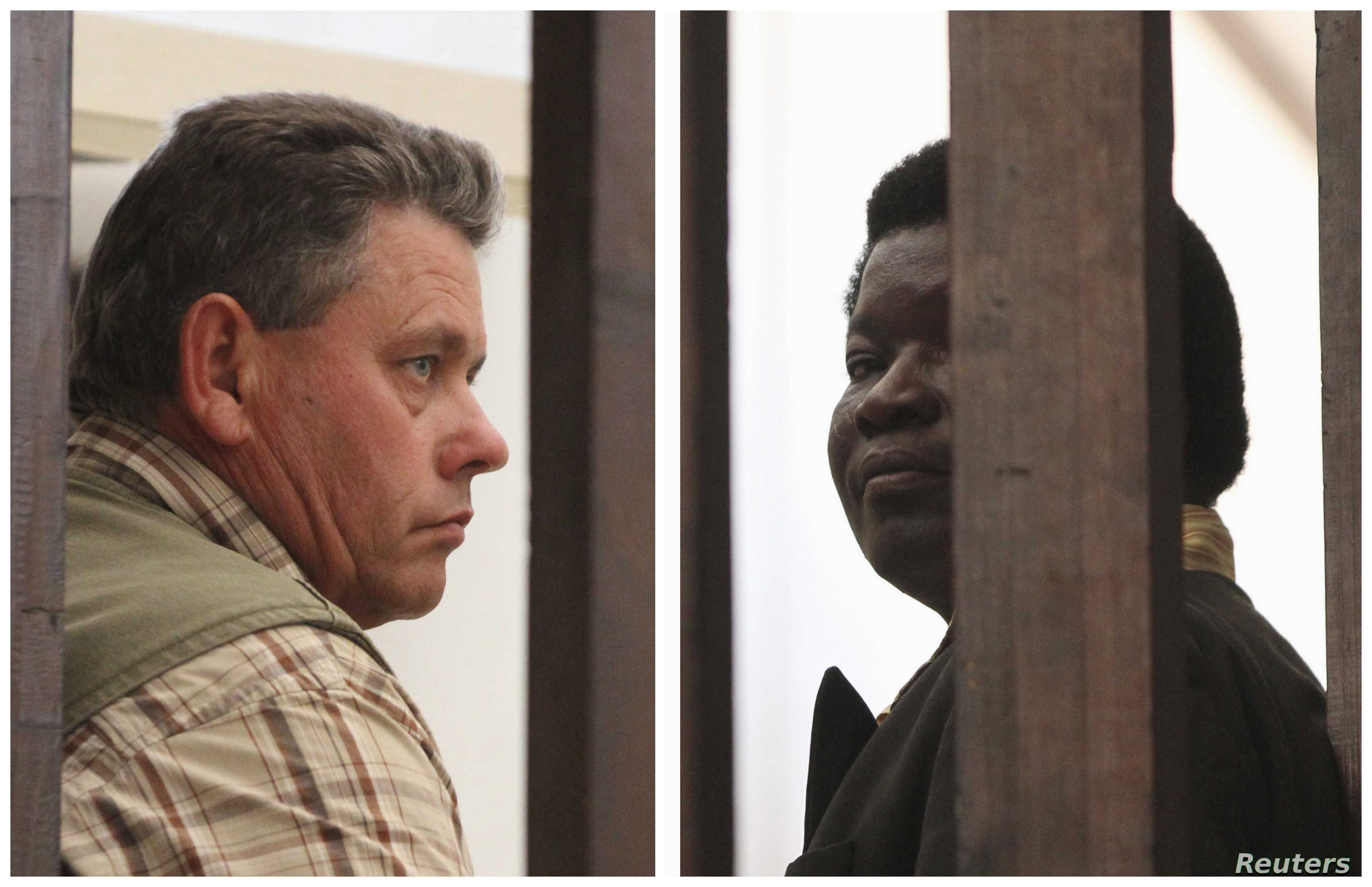 A combination photo shows Zimbabwean safari operator Honest Ndlovu (R) and fellow countryman and hunter Theo Bronkhorst waiting to appear in Hwange magistrates court, July 29, 2015.