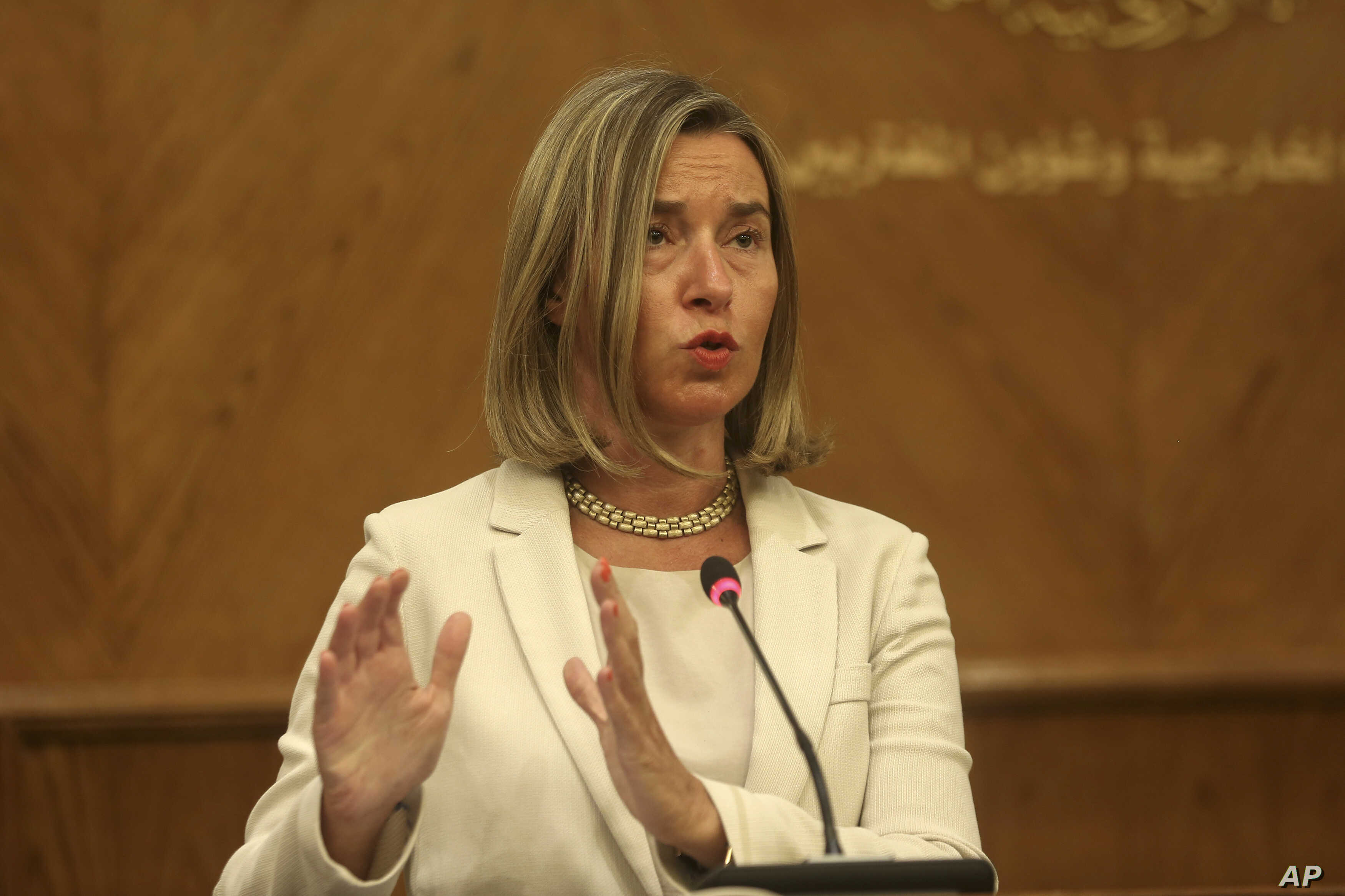 EU High Representative for Foreign Affairs and Security Policy Federica Mogherini gives a press conference in Amman, Jordan, June 10, 2018.