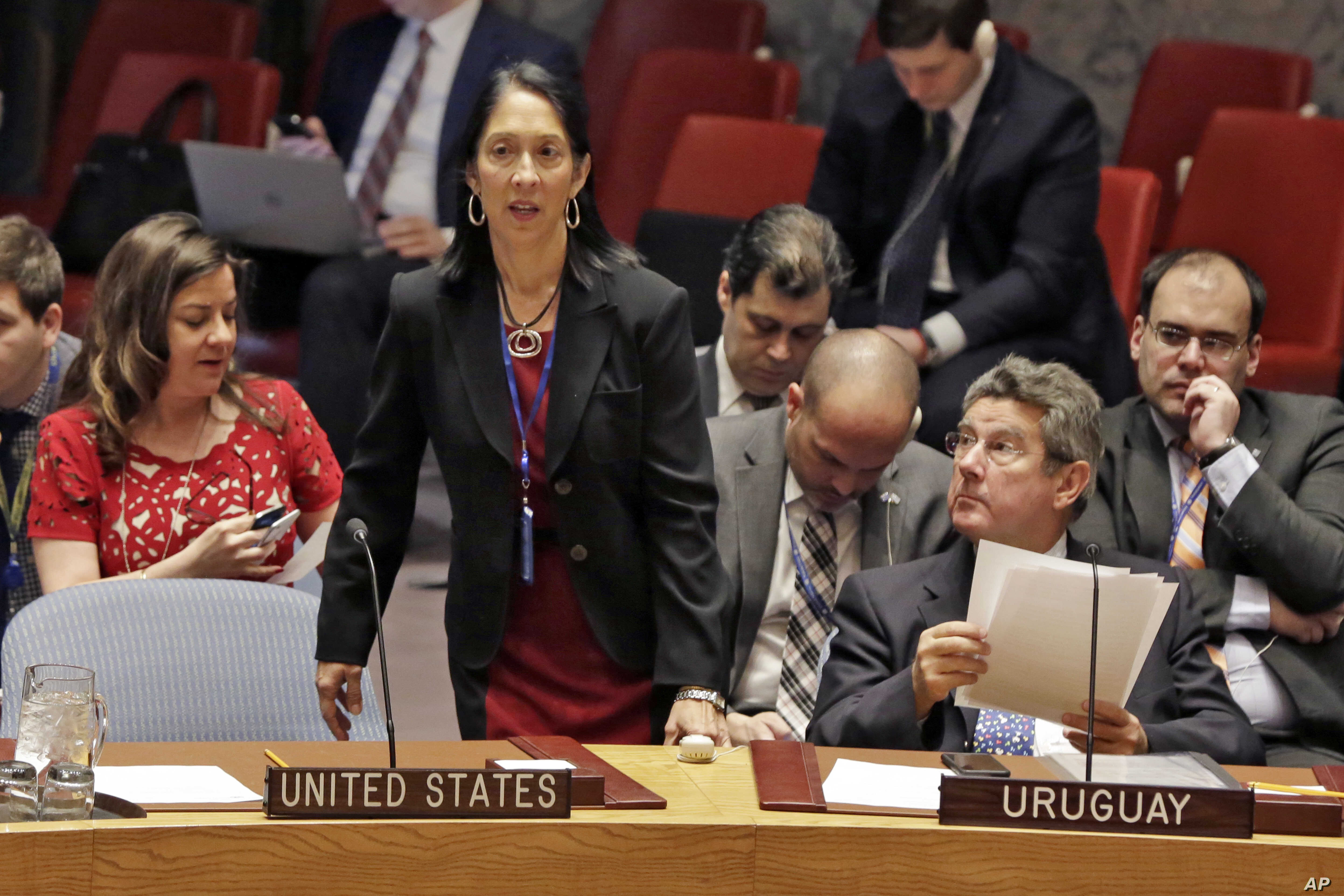 U.S. Deputy Permanent Representative to the U.N. Michele Sison arrives for the Security Council meeting of the United Nations, Feb. 2, 2017.