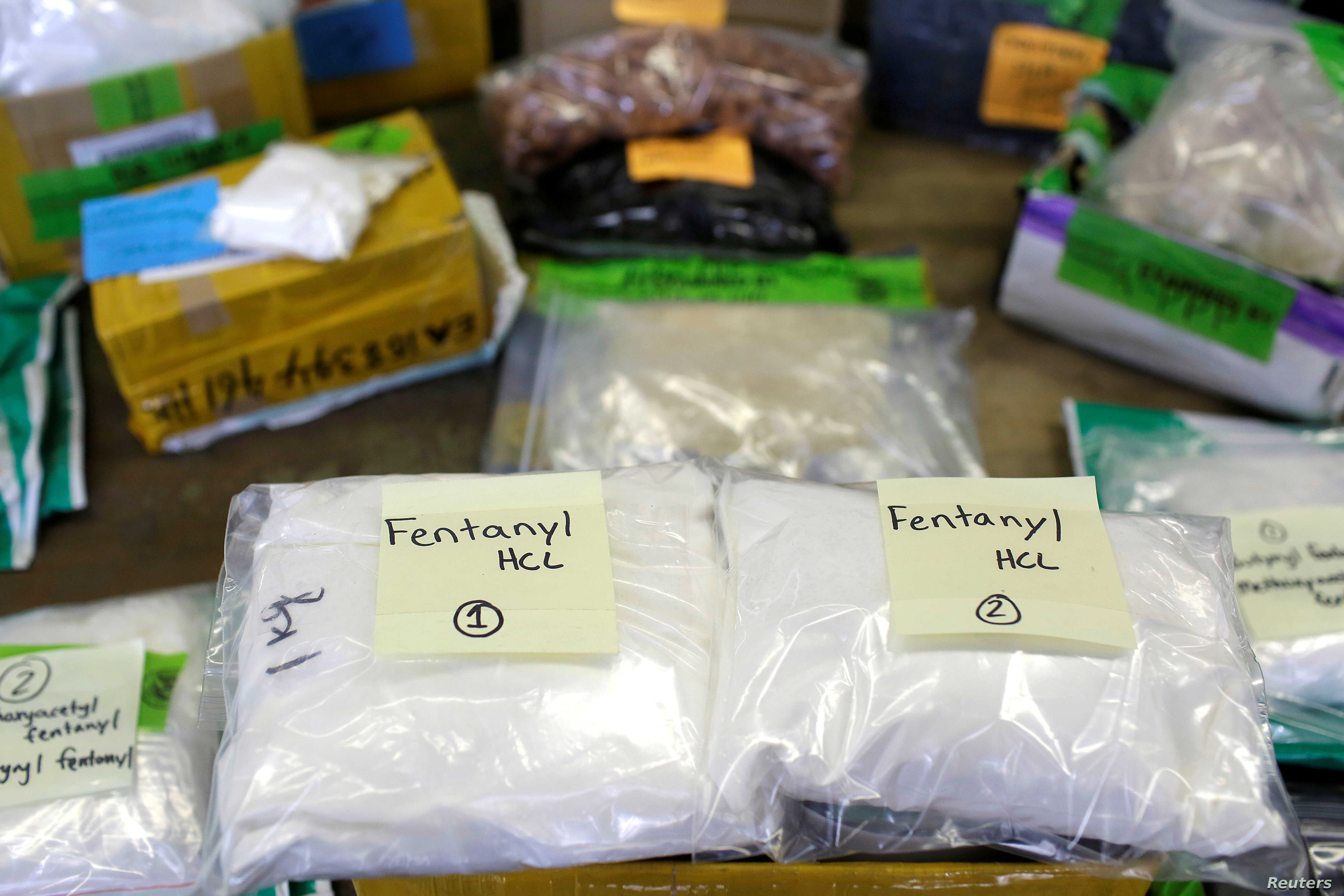 FILE - Plastic bags of Fentanyl are displayed on a table at the U.S. Customs and Border Protection area at the International Mail Facility at O'Hare International Airport in Chicago, Illinois, Nov. 29, 2017.