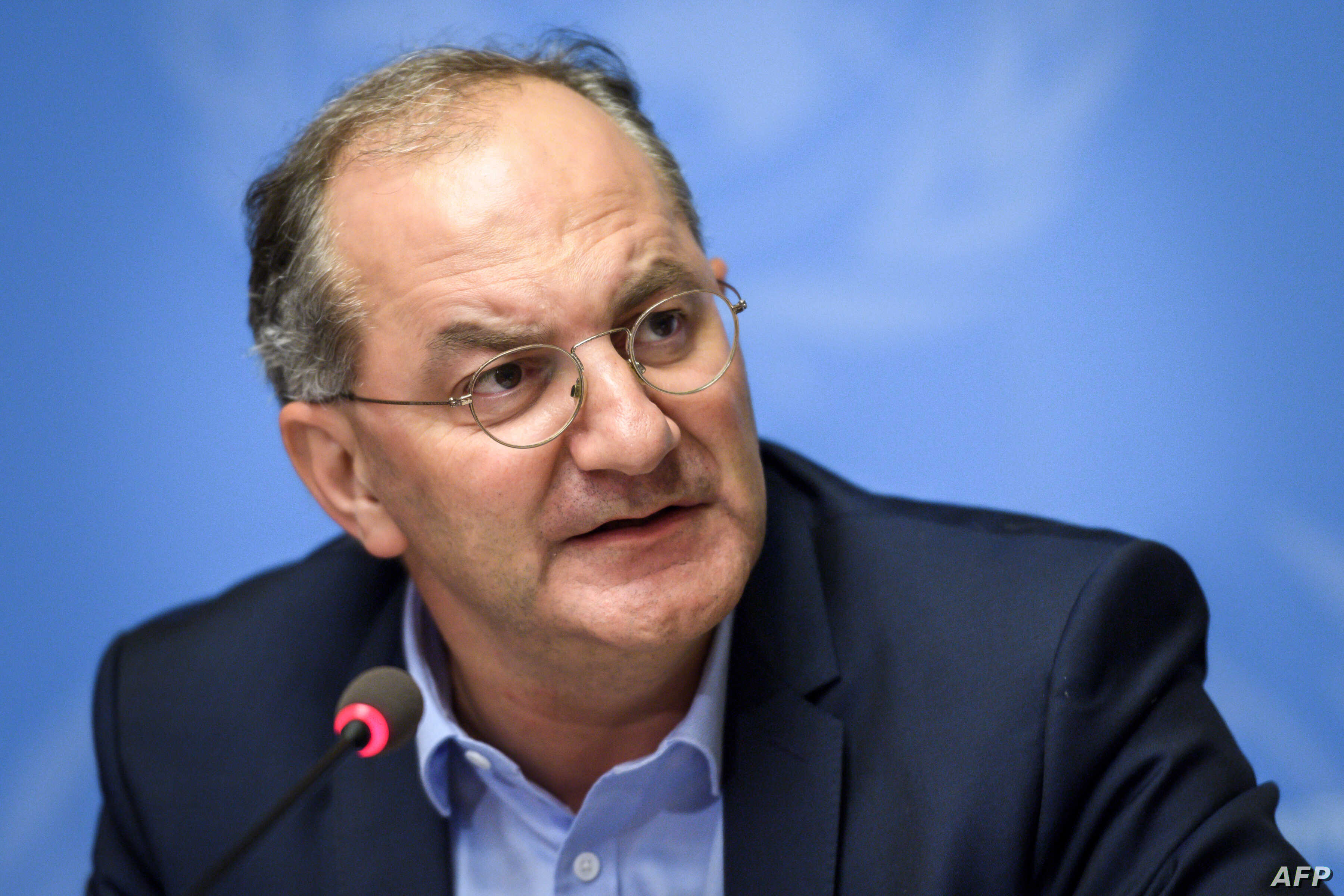 FILE - Head of the World Health Organization (WHO) Health Emergencies Programme Peter Salama attends a press conference following an International Health Regulations Emergency Committee on an Ebola outbreak in Democratic Republic of Congo on May 18, ...