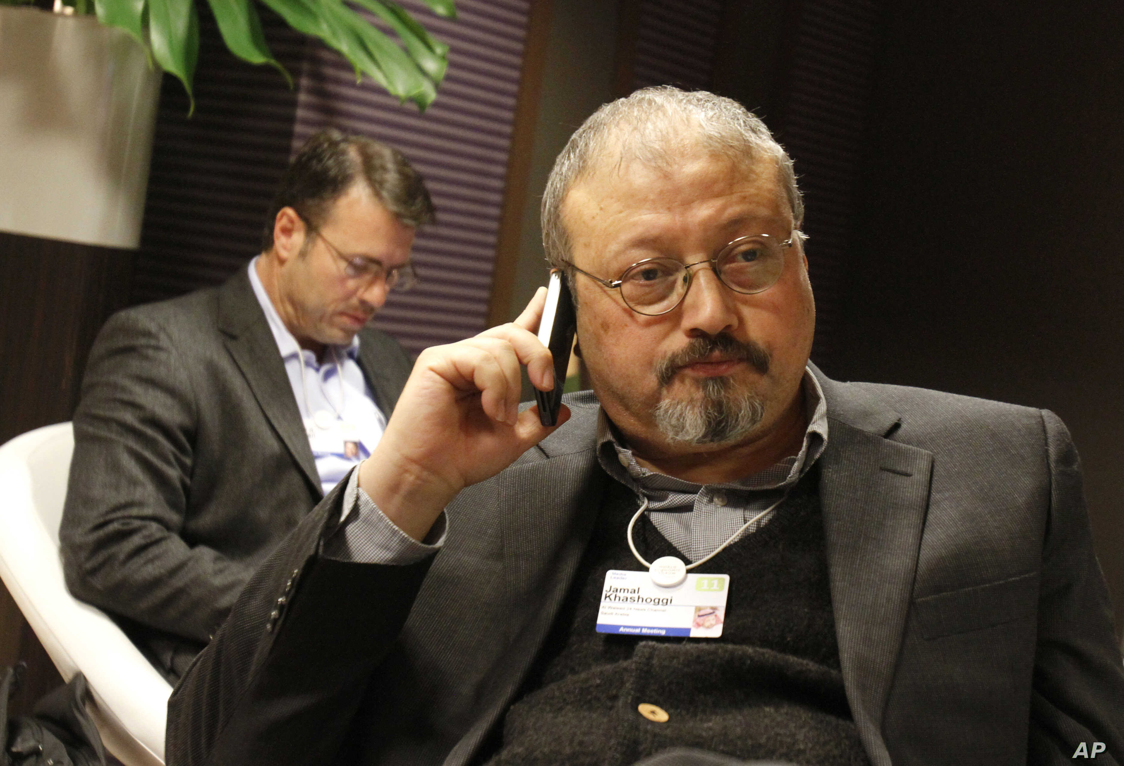 FILE - Saudi journalist Jamal Khashoggi at the World Economic Forum in Davos, Switzerland, Jan. 29, 2011. Khashoggi was a Saudi insider. He rubbed shoulders with the Saudi royal family and supported its efforts to nudge the entrenched ultraconservati