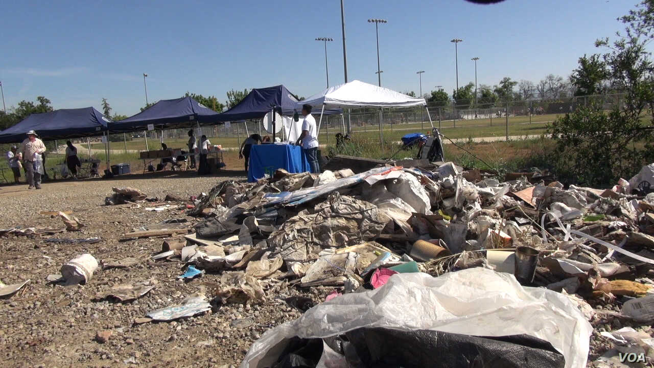 Some of the trash that has been collected from along the Los Angeles River, April 15, 2017. The winter's flooding brought tons of trash, and volunteers from clubs, businesses and industry groups are helping remove it.