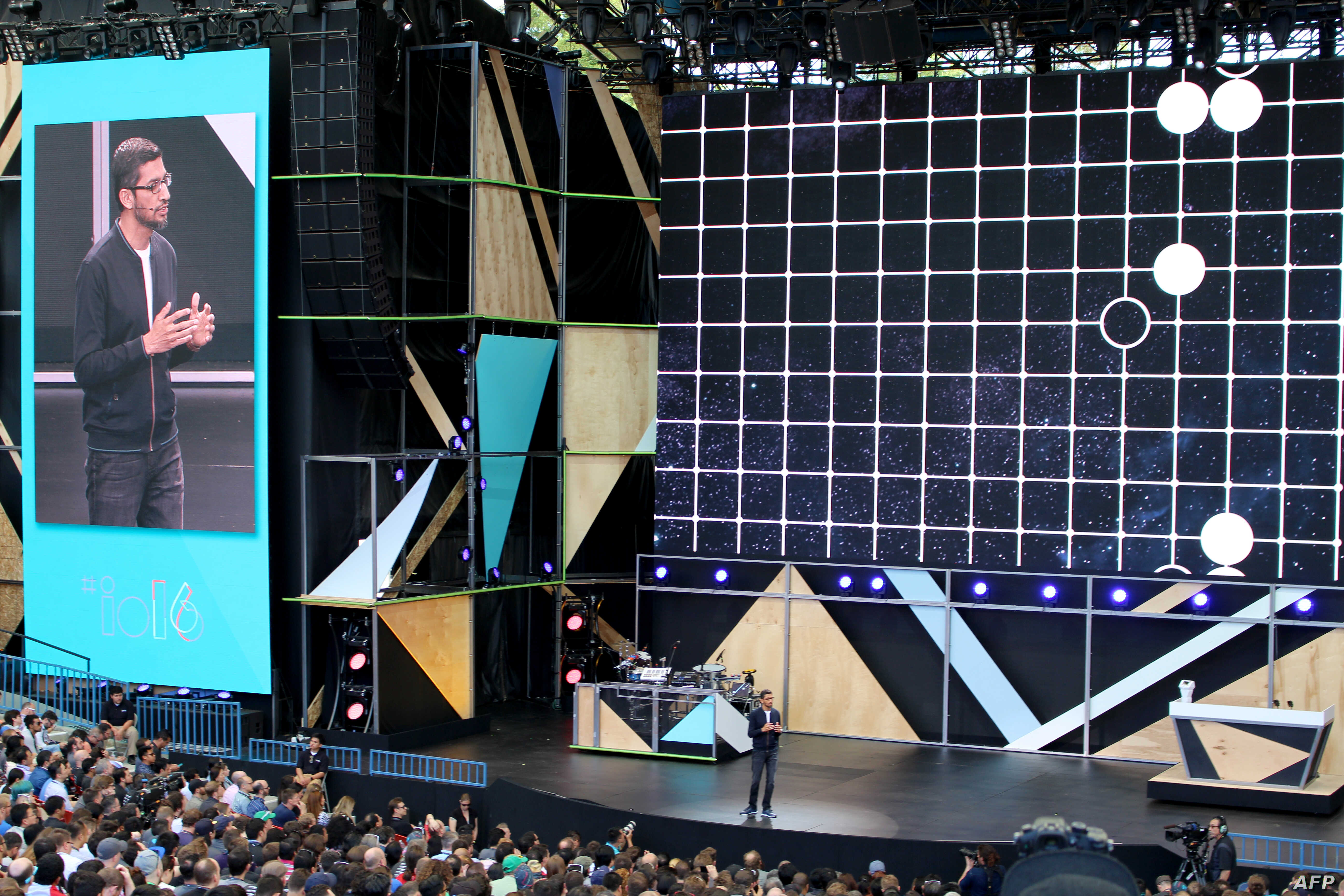FILE - Google chief executive Sundar Pichai outlines a future rich with artificial intelligence at the Internet firm's annual developers gathering in the Silicon Valley city of Mountain View, California, May 18, 2016.