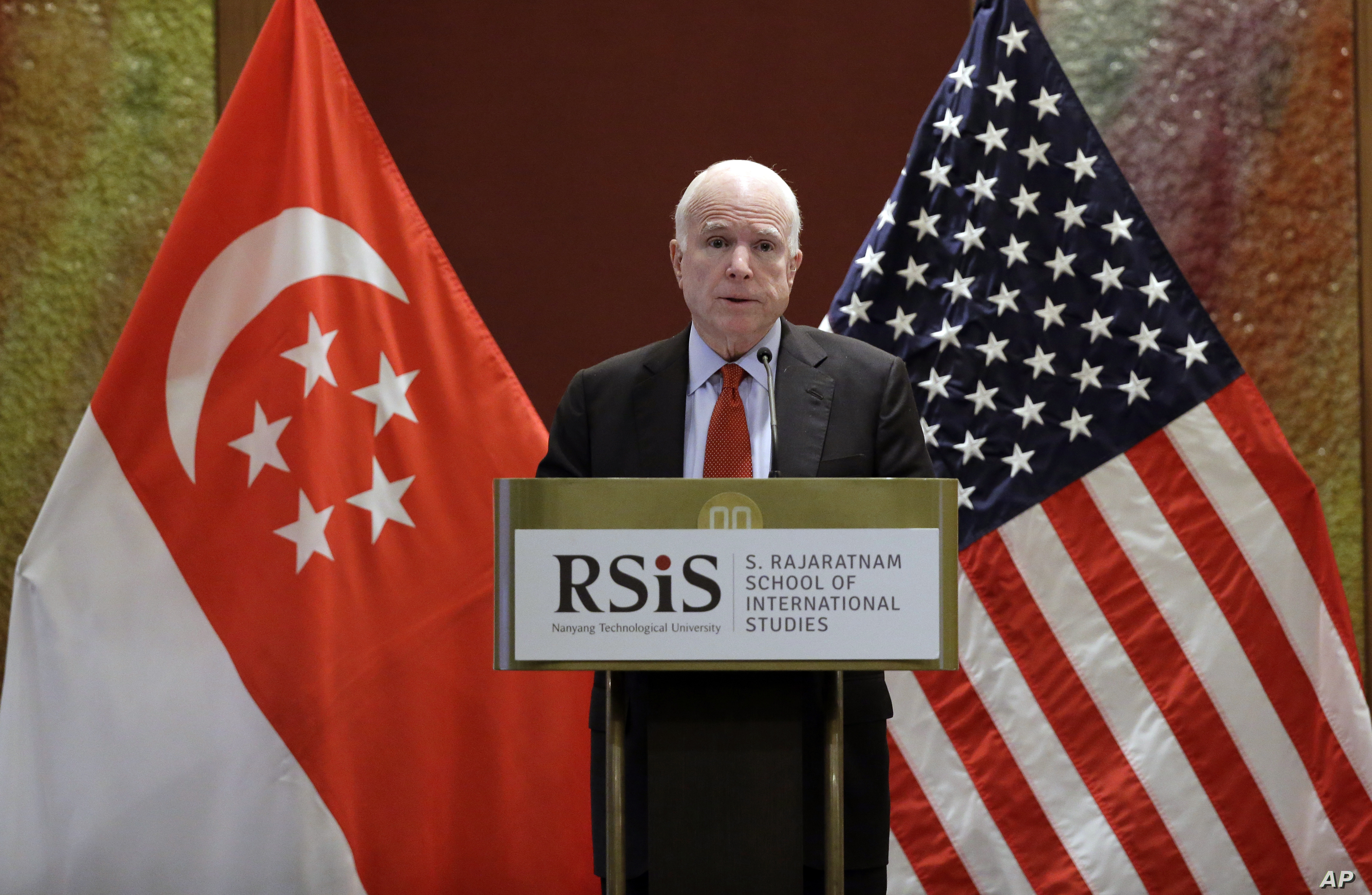 """Sen. John McCain, R-Ariz., delivers his speech titled """"America's Enduring Commitment to Security and Prosperity in Asia"""" at the S. Rajaratnam School of International Studies (RSIS) Distinguished Public Lecture Friday, June 3, 2016 in Singapore."""