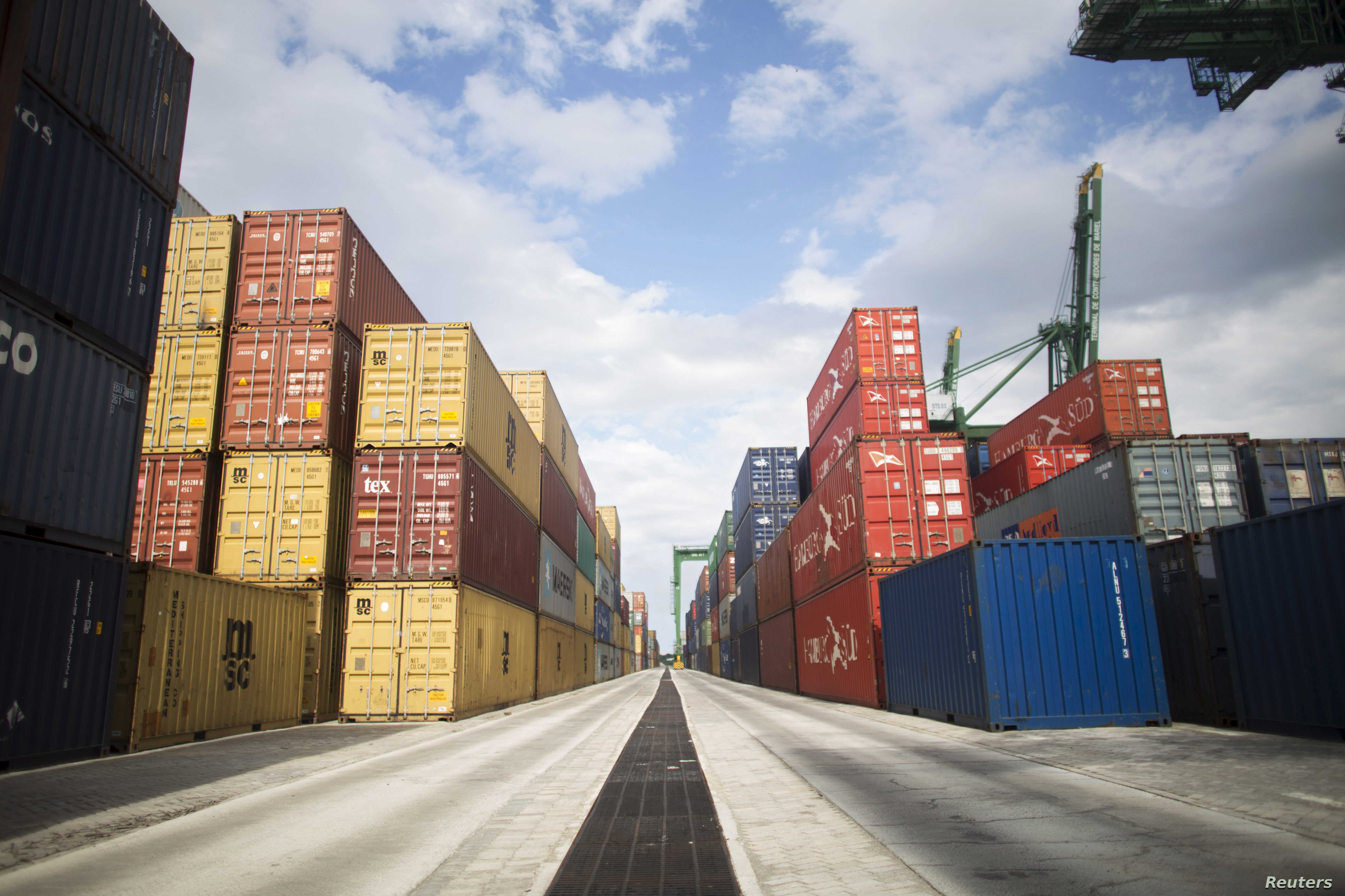 FILE - Containers are seen at the Mariel port in the outskirts of Havana. The port would be very beneficial to U.S. export industries U.S. ports with access to Mariel's shipping lanes, says James Williams, president of the Engage Cuba coalition.