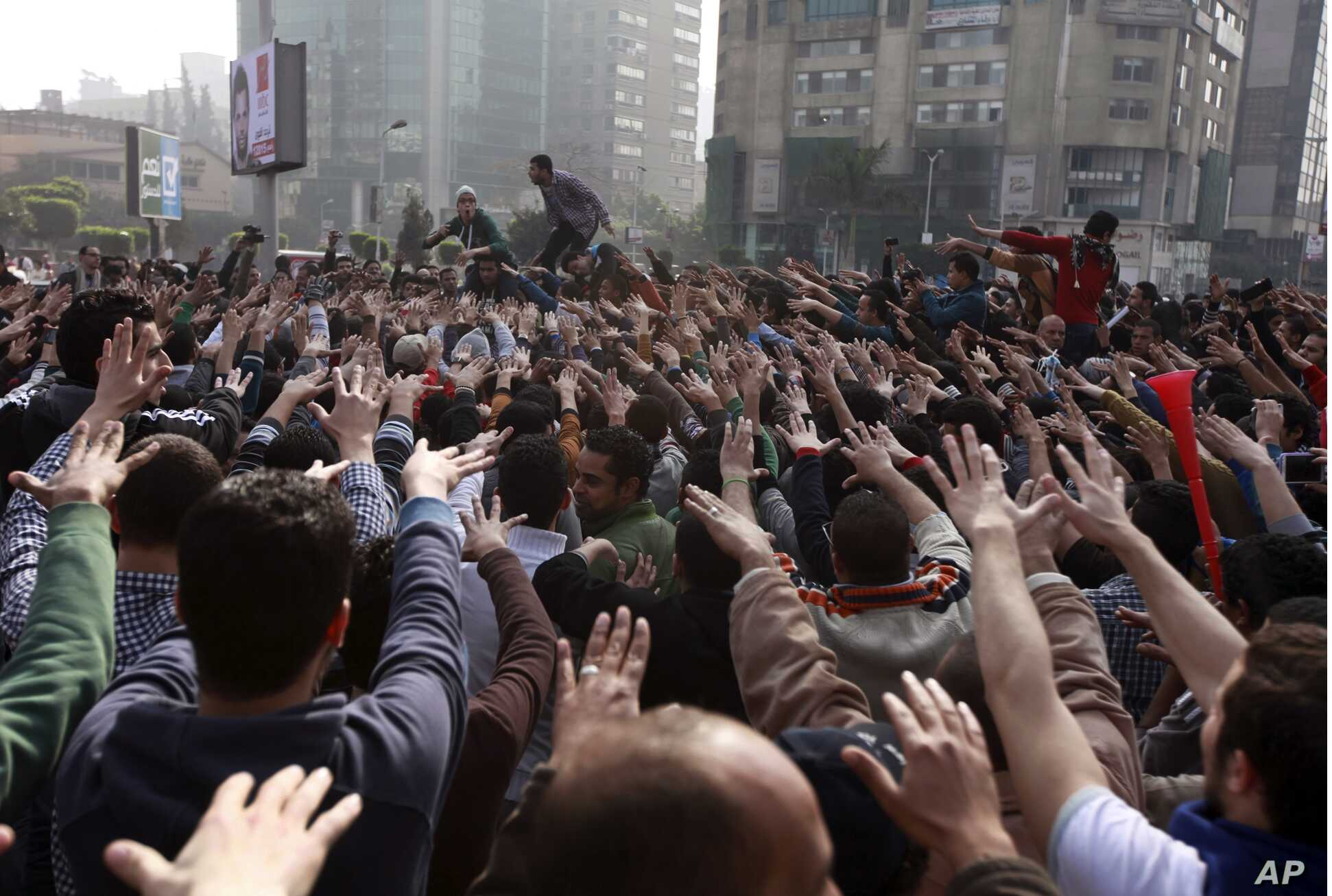 Anti-military protesters, mostly supporters of ousted President Mohamed Morsi, gathered  on the third anniversary of the Egypt's 2011 uprising, Egypt, Saturday, Jan. 25, 2014.