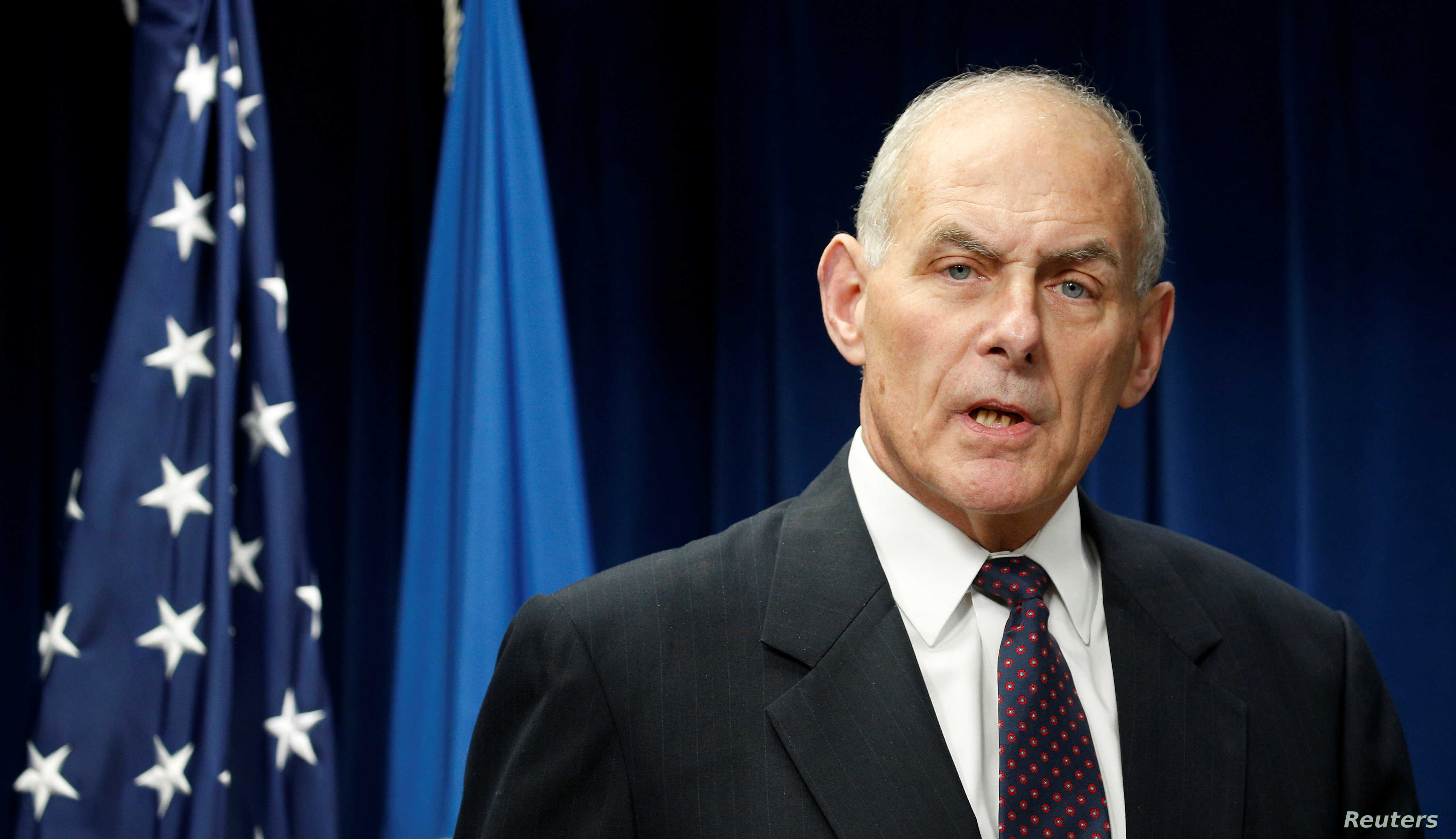 Homeland Security Secretary John Kelly delivers remarks on issues related to visas and travel after U.S. President Donald Trump signed a new travel ban order in Washington, March 6, 2017.