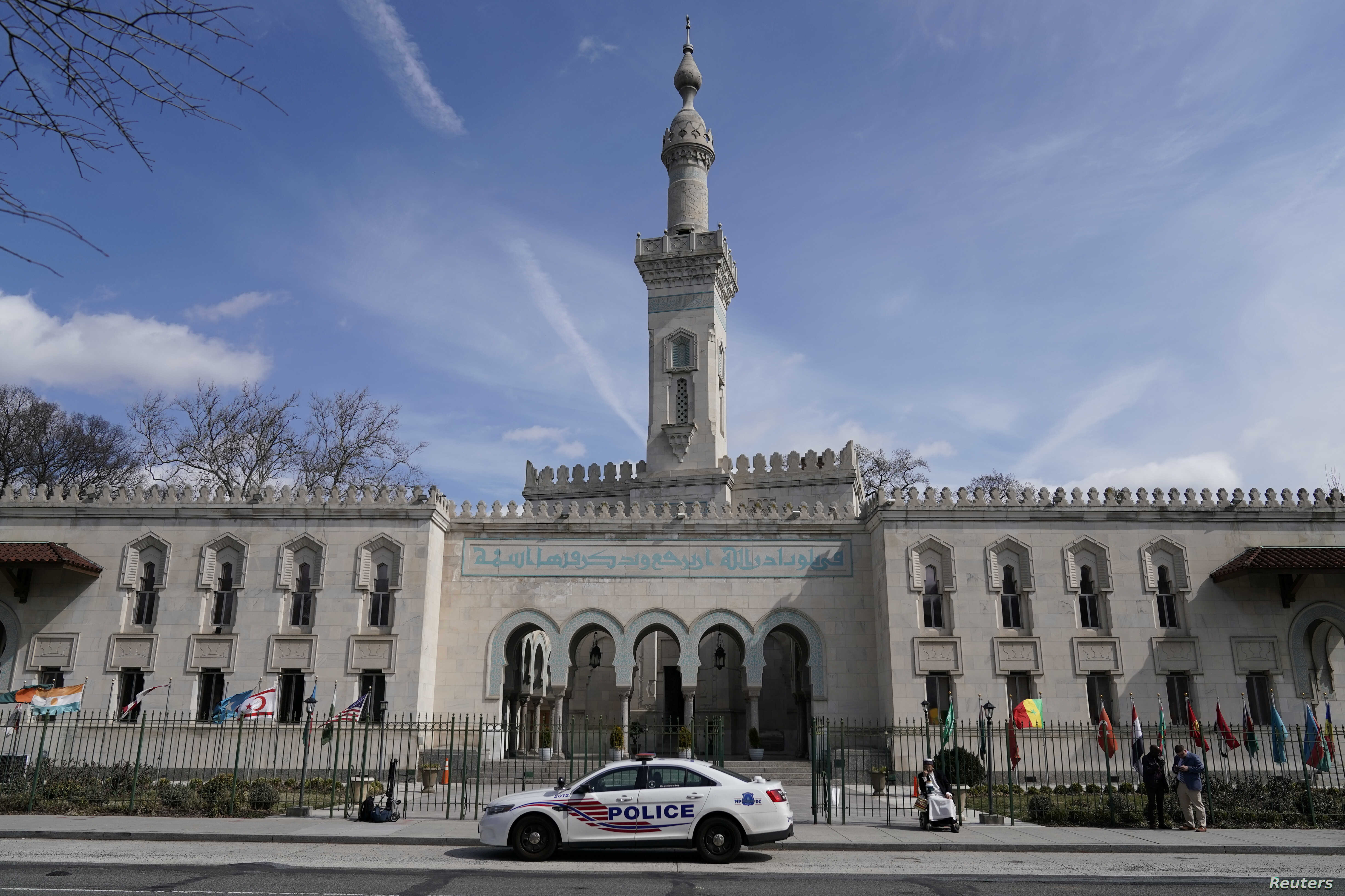 A Metropolitan Police vehicle sits outside of the Islamic Center of Washington in Washington, following the mosque attacks in New Zealand March 15, 2019.