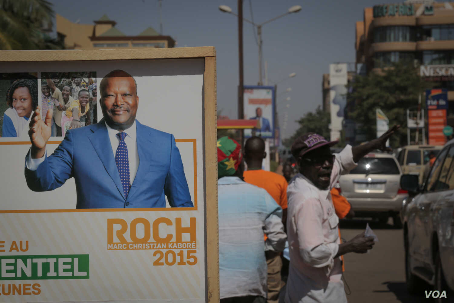 An electoral poster of candidate Roch Marc Christian Kaboré is displayed on the streets of Ouagadougou, Burkina Faso.