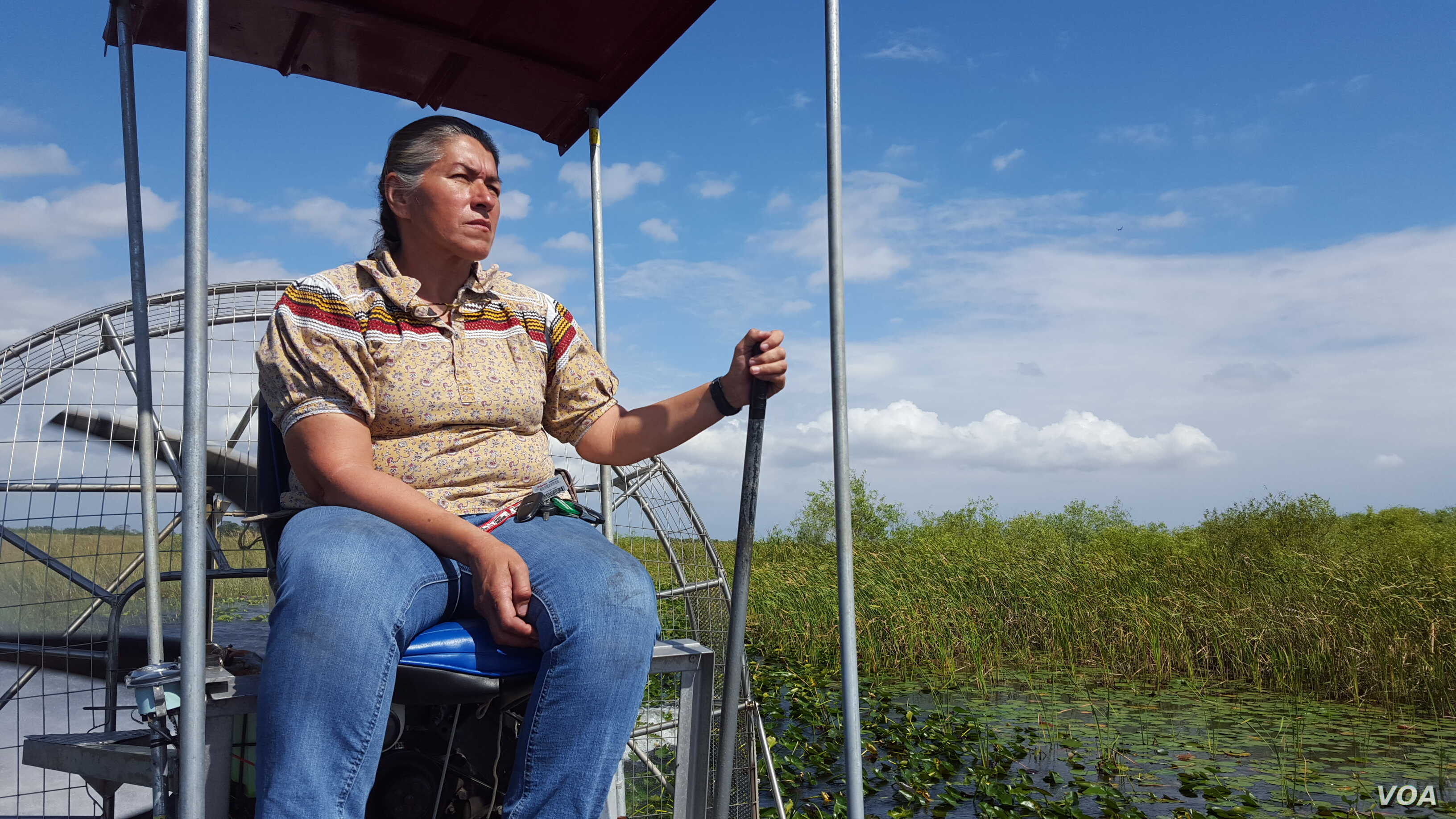Betty Osceola, a member of the Miccosukee tribe, runs an airboat tour company in the Everglades. (W. Gallo/VOA)