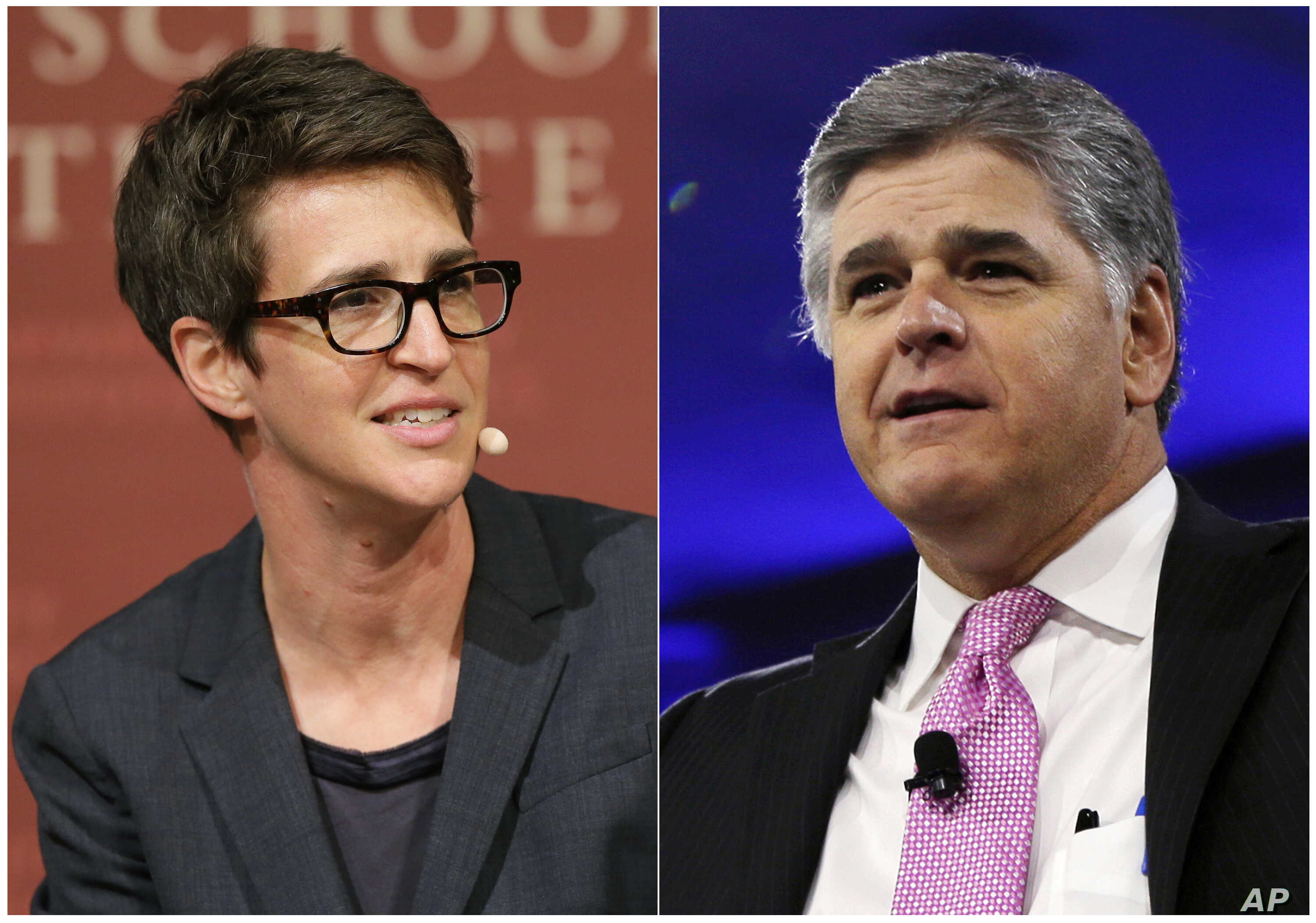 """This combination photo shows MSNBC television anchor Rachel Maddow, host of """"The Rachel Maddow Show,"""" moderating a panel at Harvard University, in Cambridge, Mass. on Oct. 16, 2017 , left, and Sean Hannity of Fox News at the Conservative Political Ac..."""