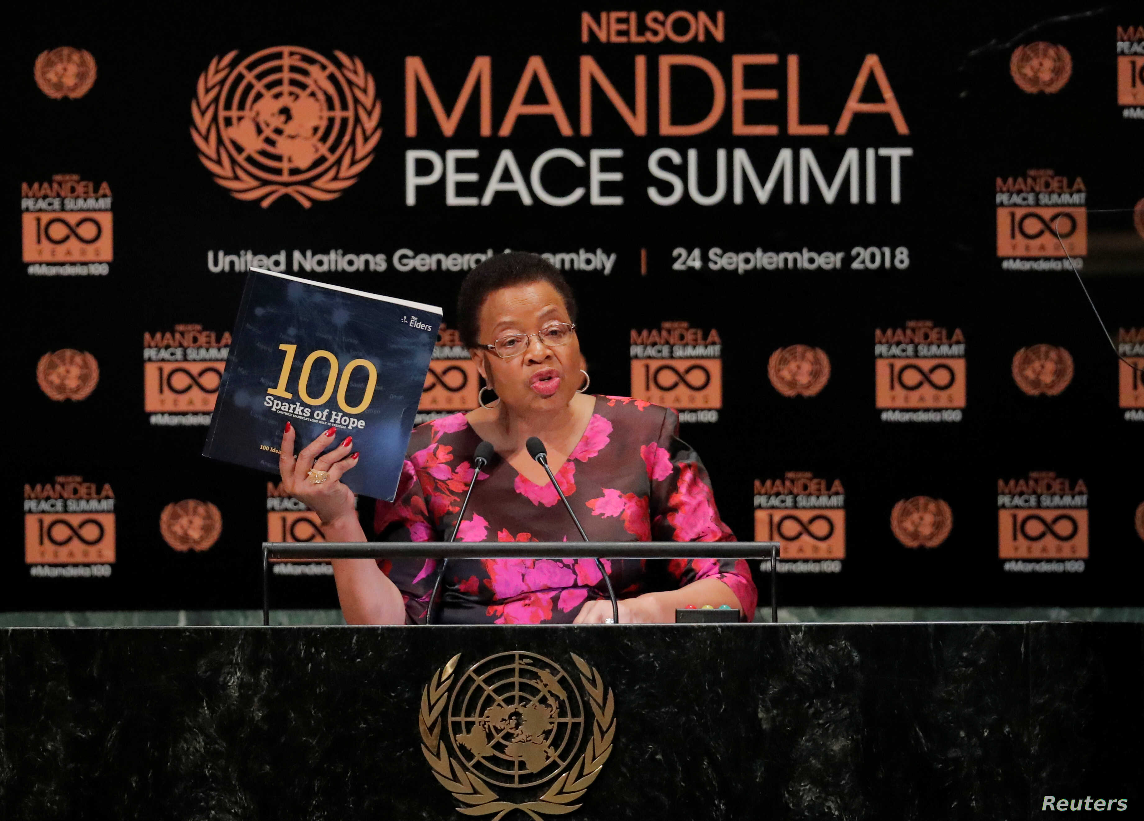 Graca Machel, member of the Elders, speaks at the Nelson Mandela Peace Summit during the 73rd United Nations General Assembly in New York, Sept. 24, 2018.