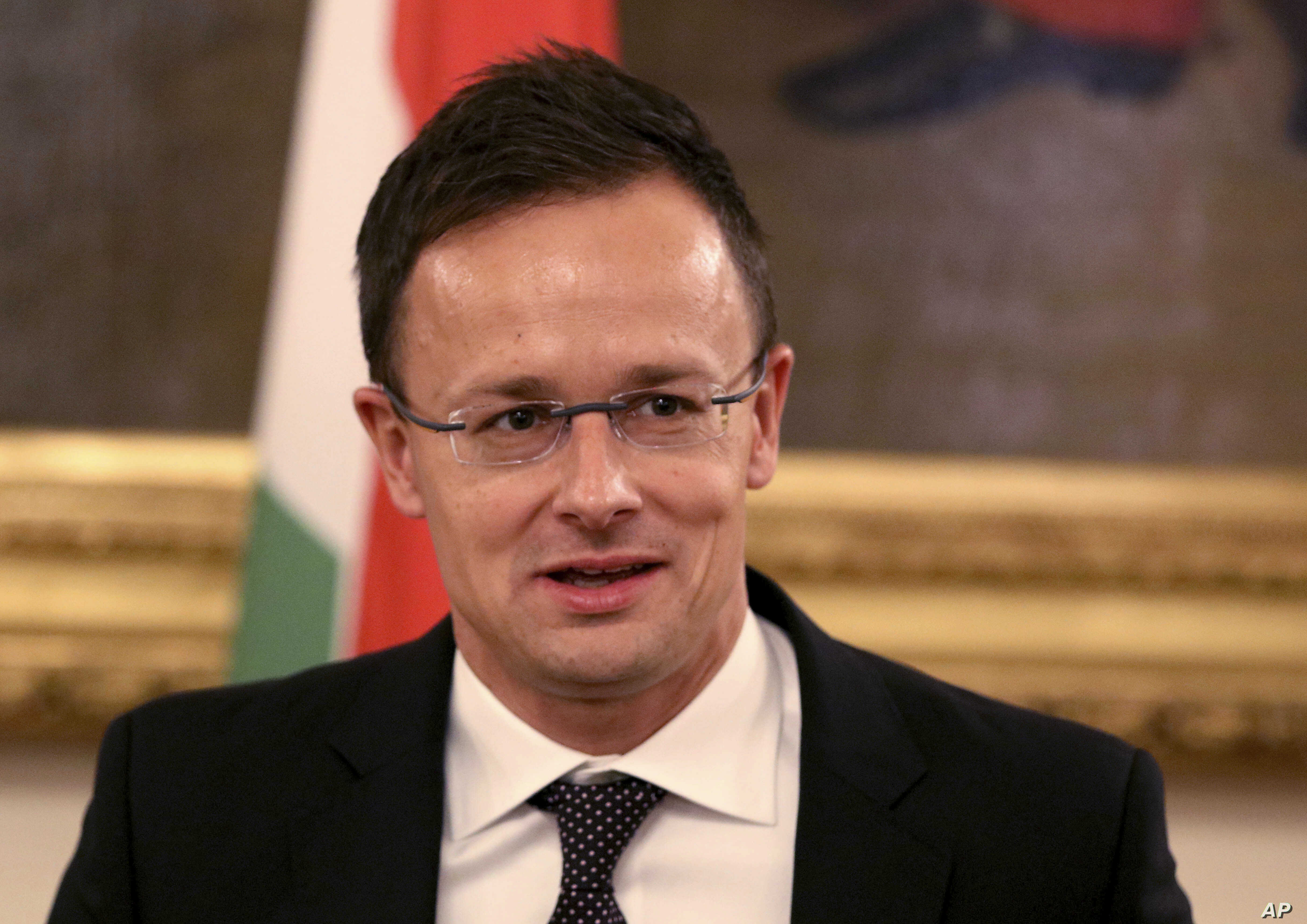 Hungary's Foreign Minister Peter Szijjarto speaks during a press conference in Vienna, Austria, Nov. 7, 2018.