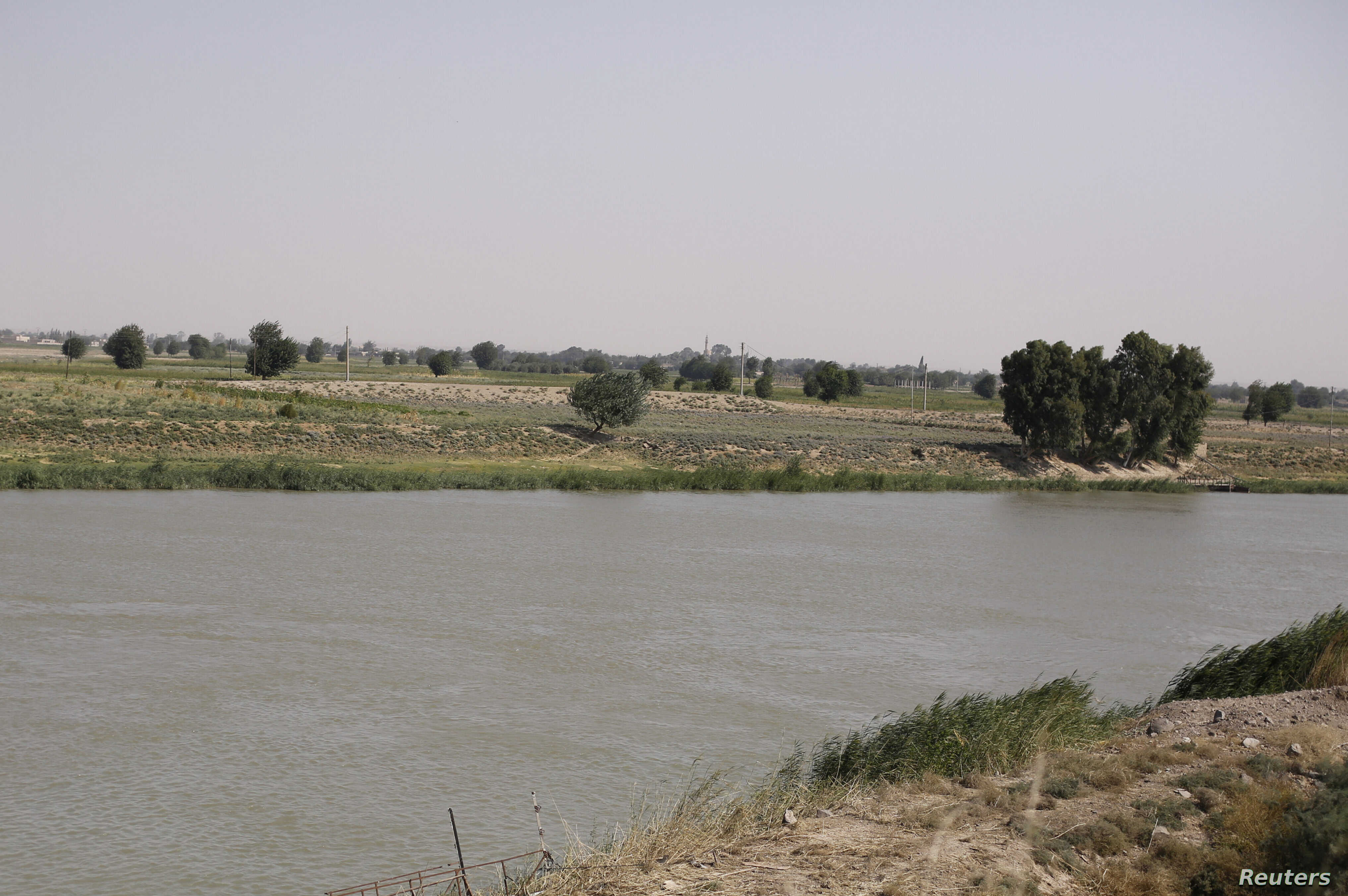 A view of the Euphrates River from al-Bugilia, north of Deir el-Zour, Syria, Sept. 21, 2017.