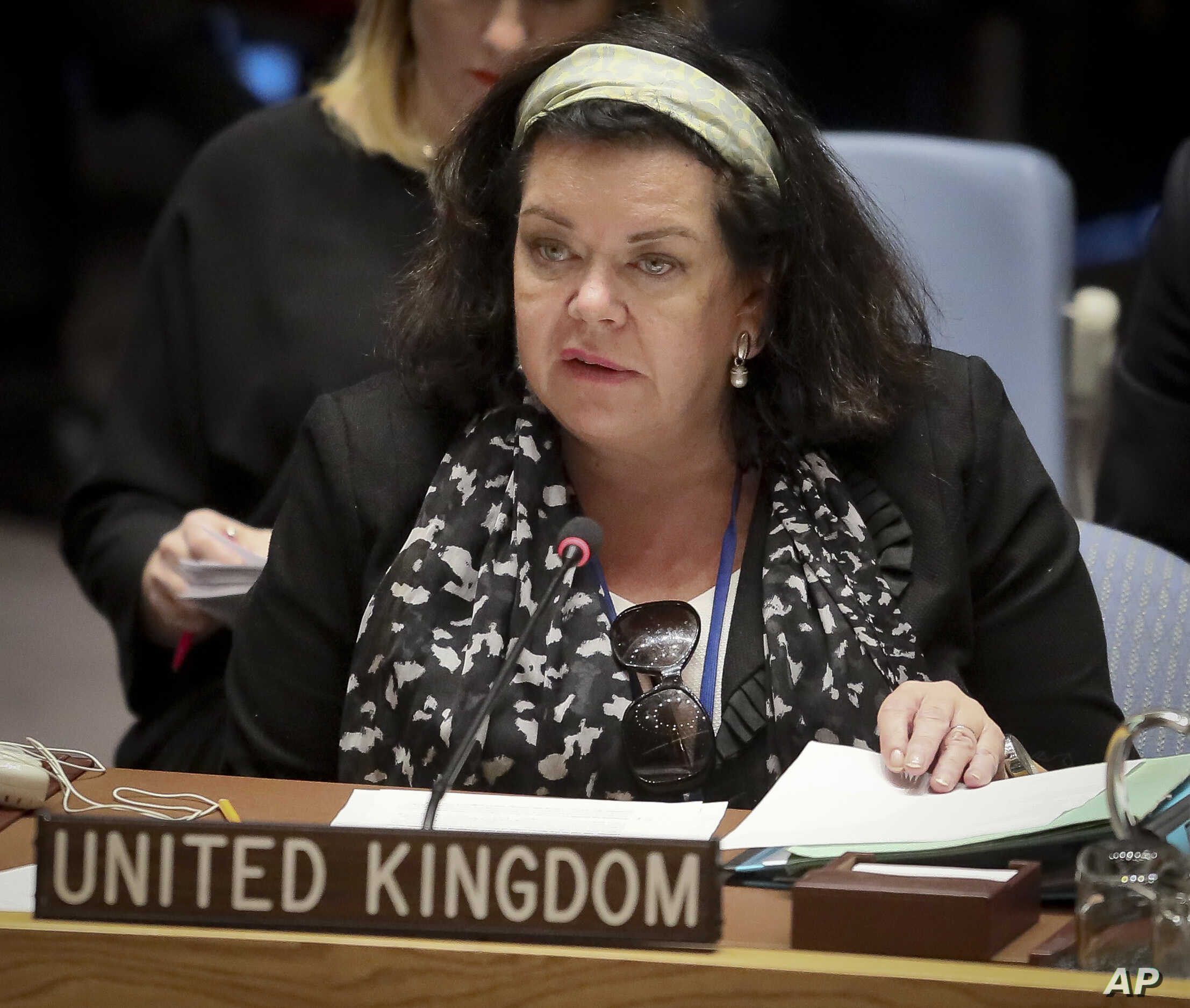 United Kingdom Ambassador Karen Pierce address a meeting of the United Nations Security Council on Yemen,  Oct. 23, 2018 at UN headquarters.
