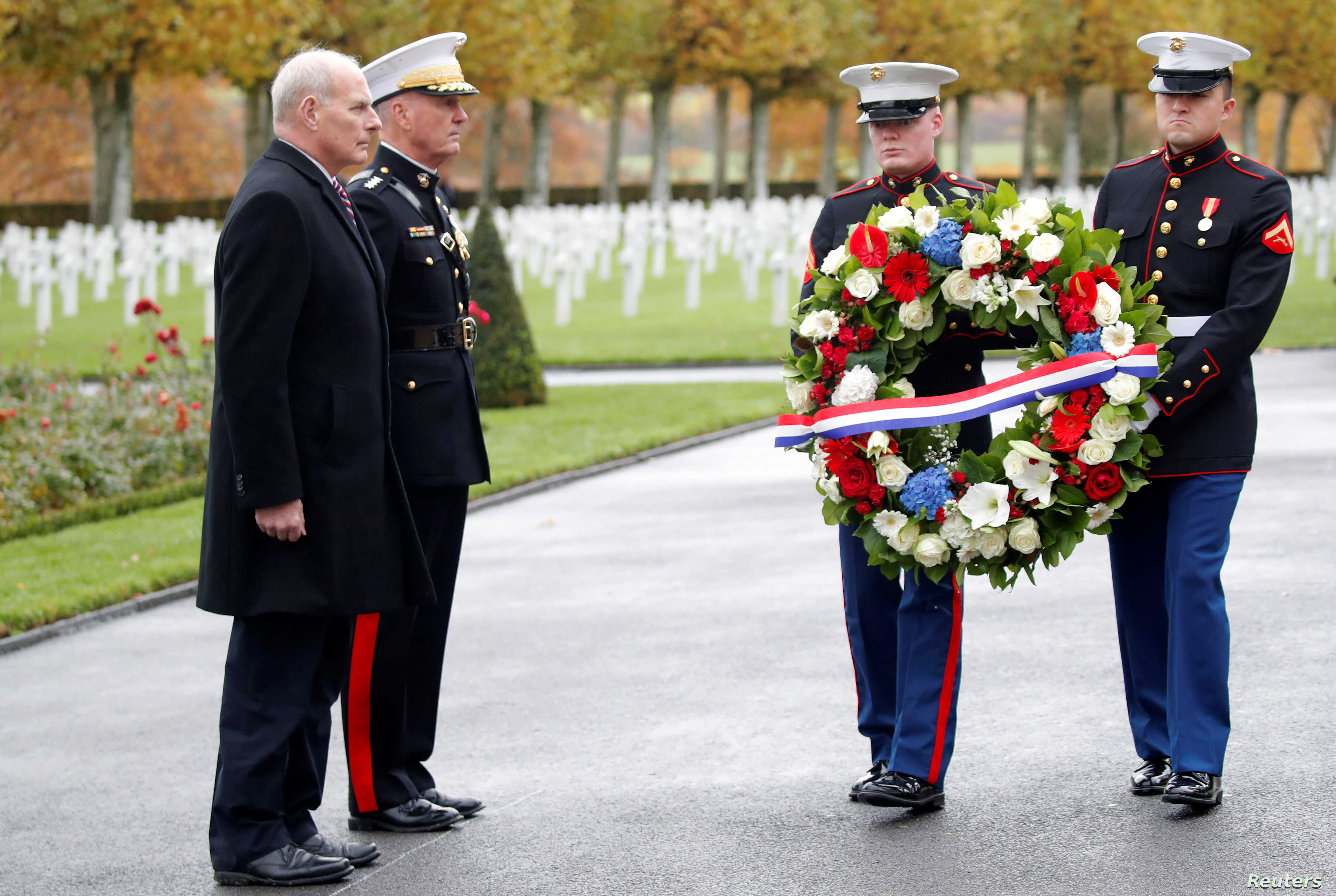 White House Chief of Staff John Kelly attends a ceremony at the Aisne-Marne American Cemetery dedicated to the U.S. soldiers killed in the Belleau Wood battle during World War One at Belleau, France, Nov. 10, 2018.
