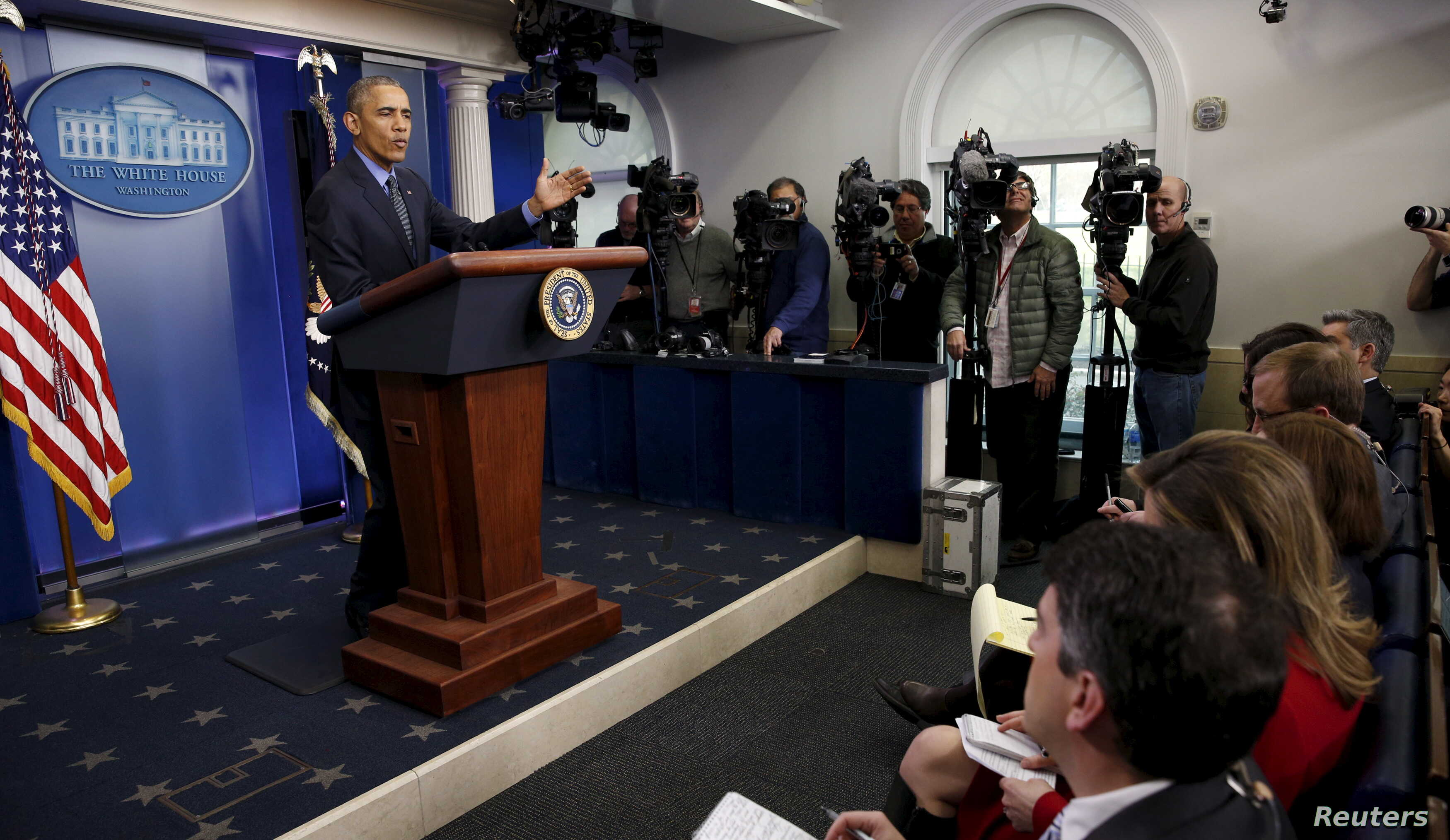U.S. President Barack Obama holds his end of the year news conference at the White House in Washington, Dec. 18, 2015.