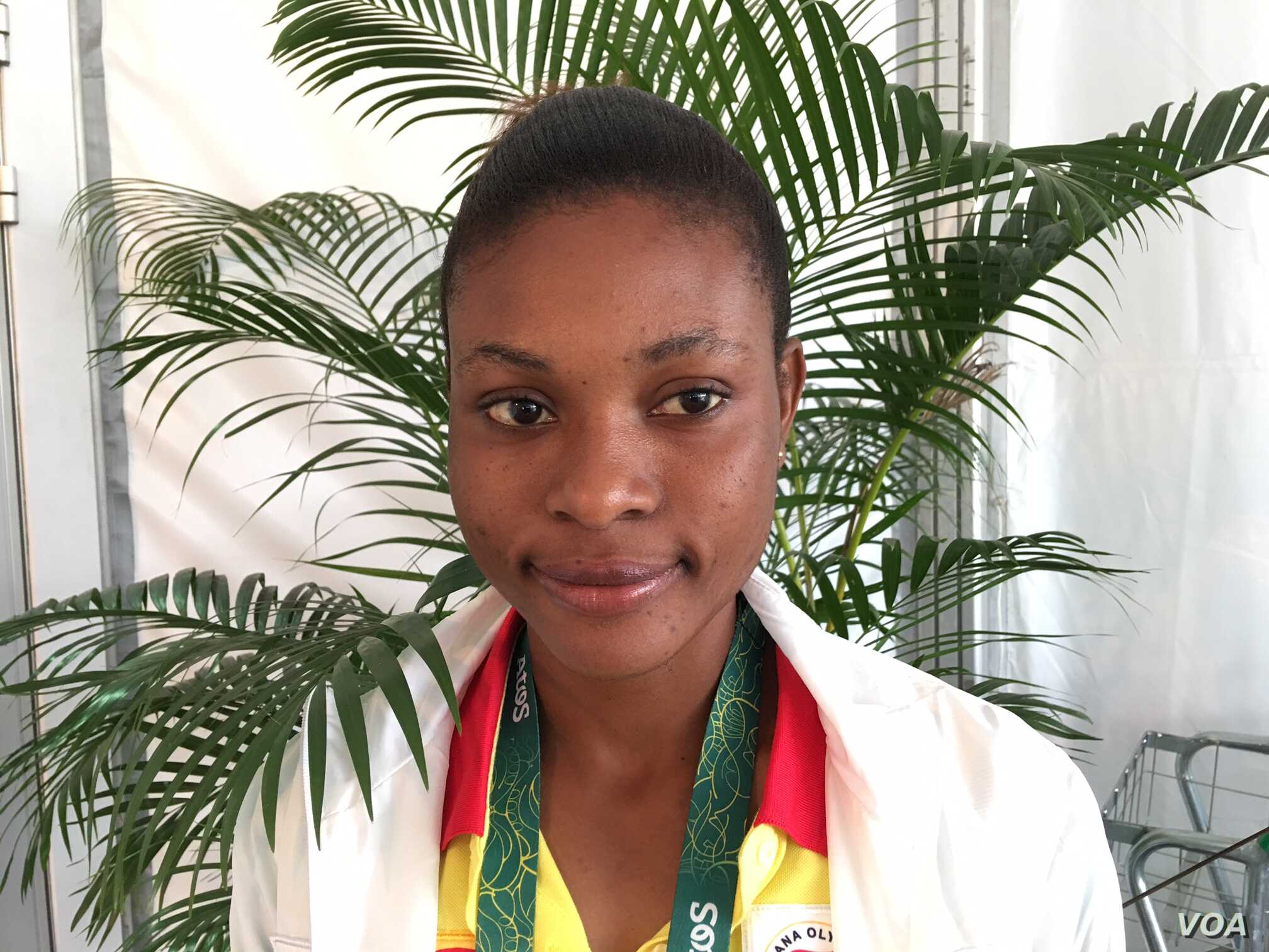 Janet Amponsah, 23, a junior at Middle Tennessee State University, will run Thursday with Ghana's 4x100-meter relay team, which is ranked among the top eight women's squads in Rio. (P. Brewer/VOA)