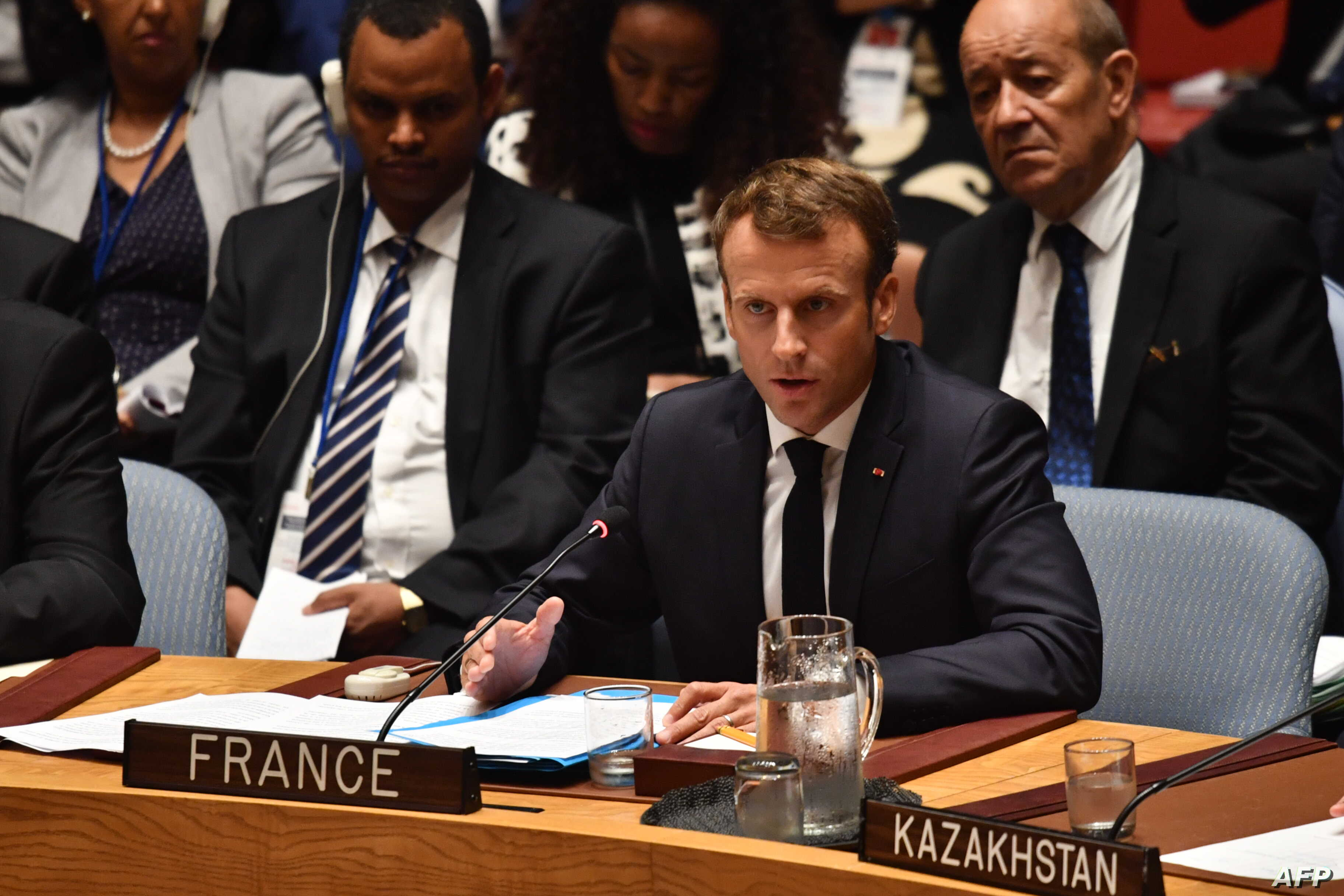 French President Emmanuel Macron speaks during the United Nations Security Council briefing on counterproliferation at the United Nations in New York on the second day of the UN General Assembly, Sept. 26, 2018.