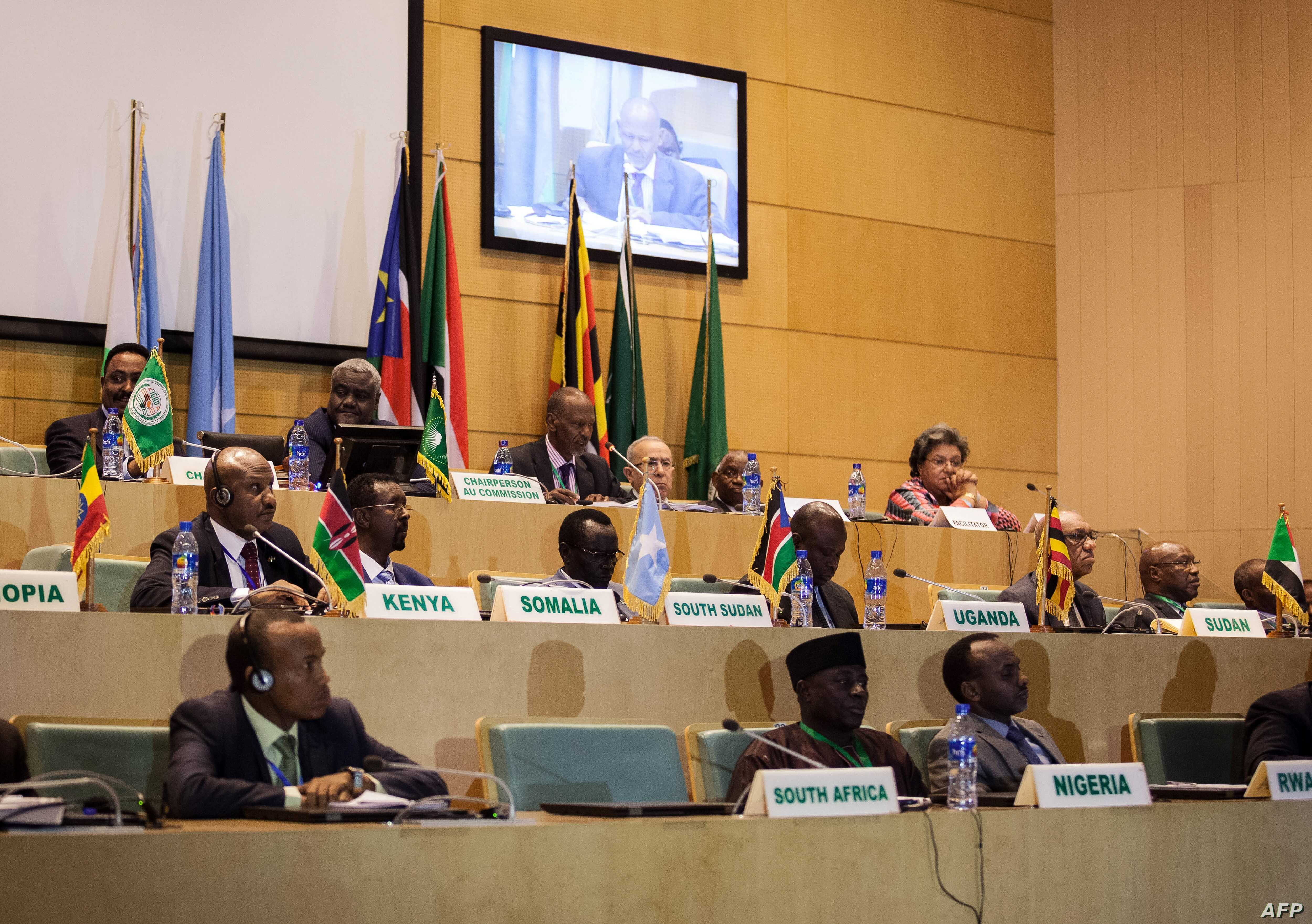 This photo taken Dec. 21, 2017, shows African Union chairman Moussa Faki, 2nd left-top, sitting with members of the Intergovernmental Authority for Development (IGAD) as they attend a signing ceremony for the cease-fire agreement amongst South Sudane...
