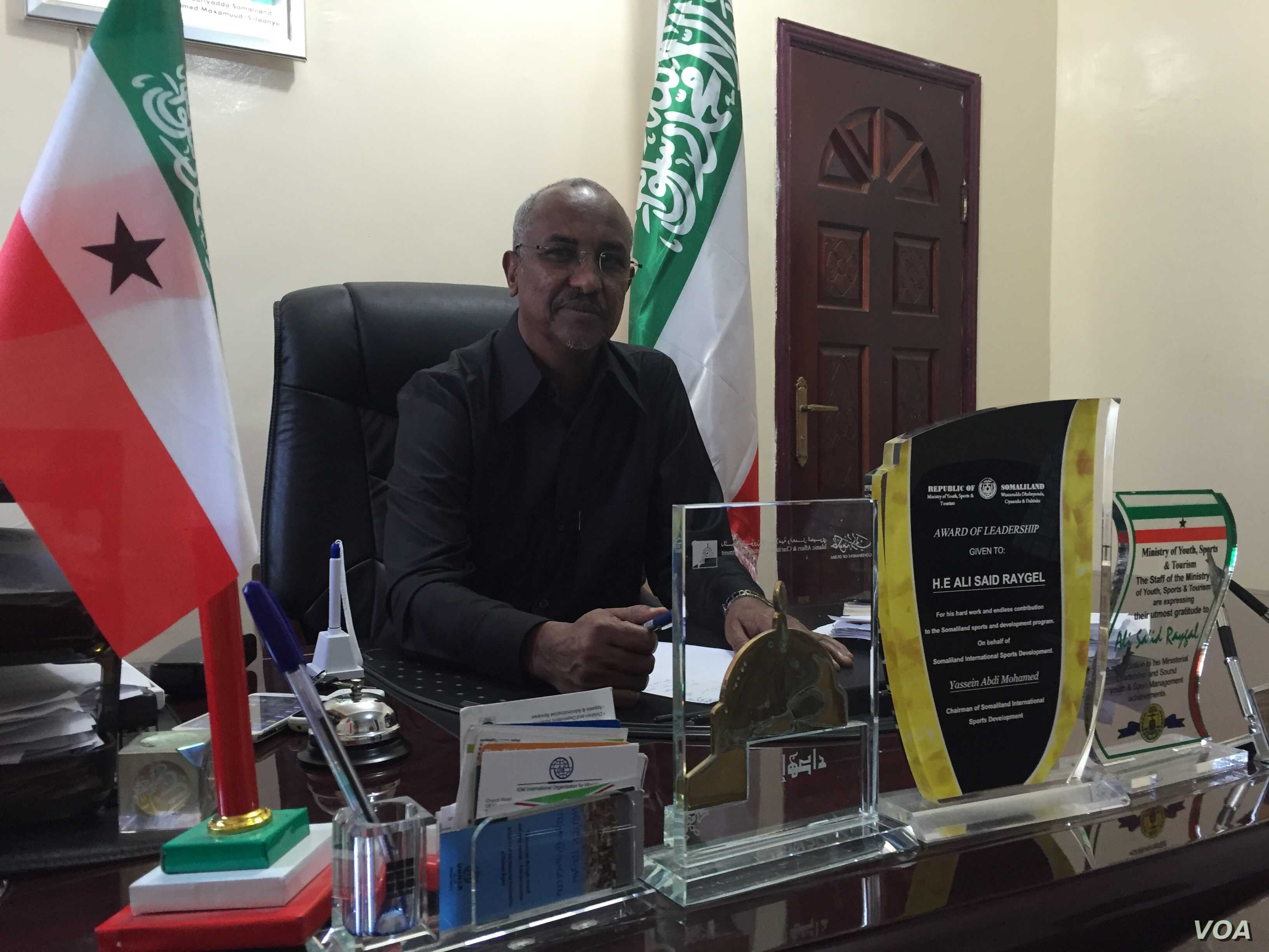 Ali Saed Raygal, Somaliland minister of Resettlement, Rehabilitation and Reconstruction, at his desk in Hargeisa, Somaliland, March 30, 2016.