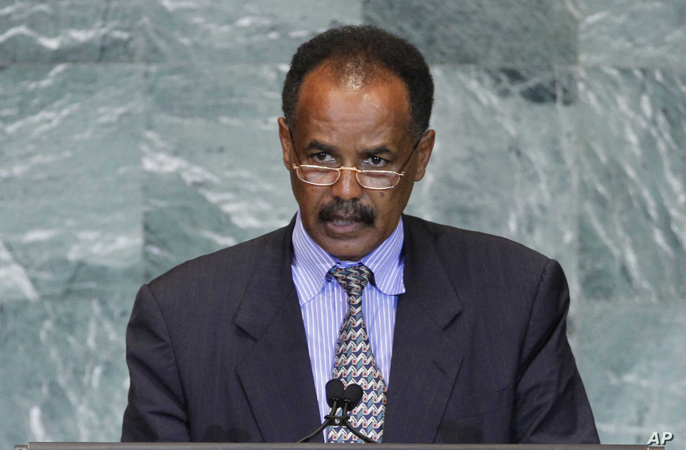FILE - President Isaias Afwerki of Eritrea addresses the 66th session of the United Nations General Assembly at U.N. headquarters, Sept. 23, 2011.