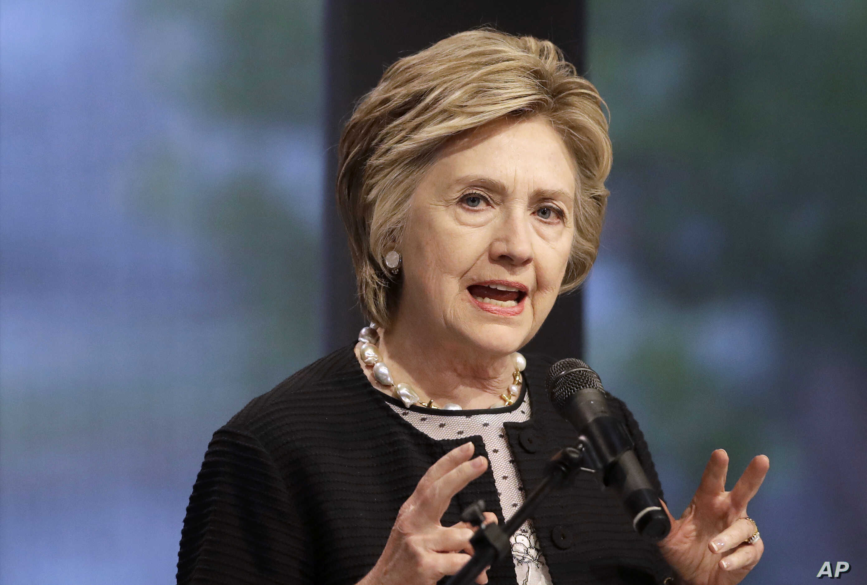 FILE - In this June 5, 2017 file photo, former Secretary of State Hillary Clinton speaks in Baltimore.