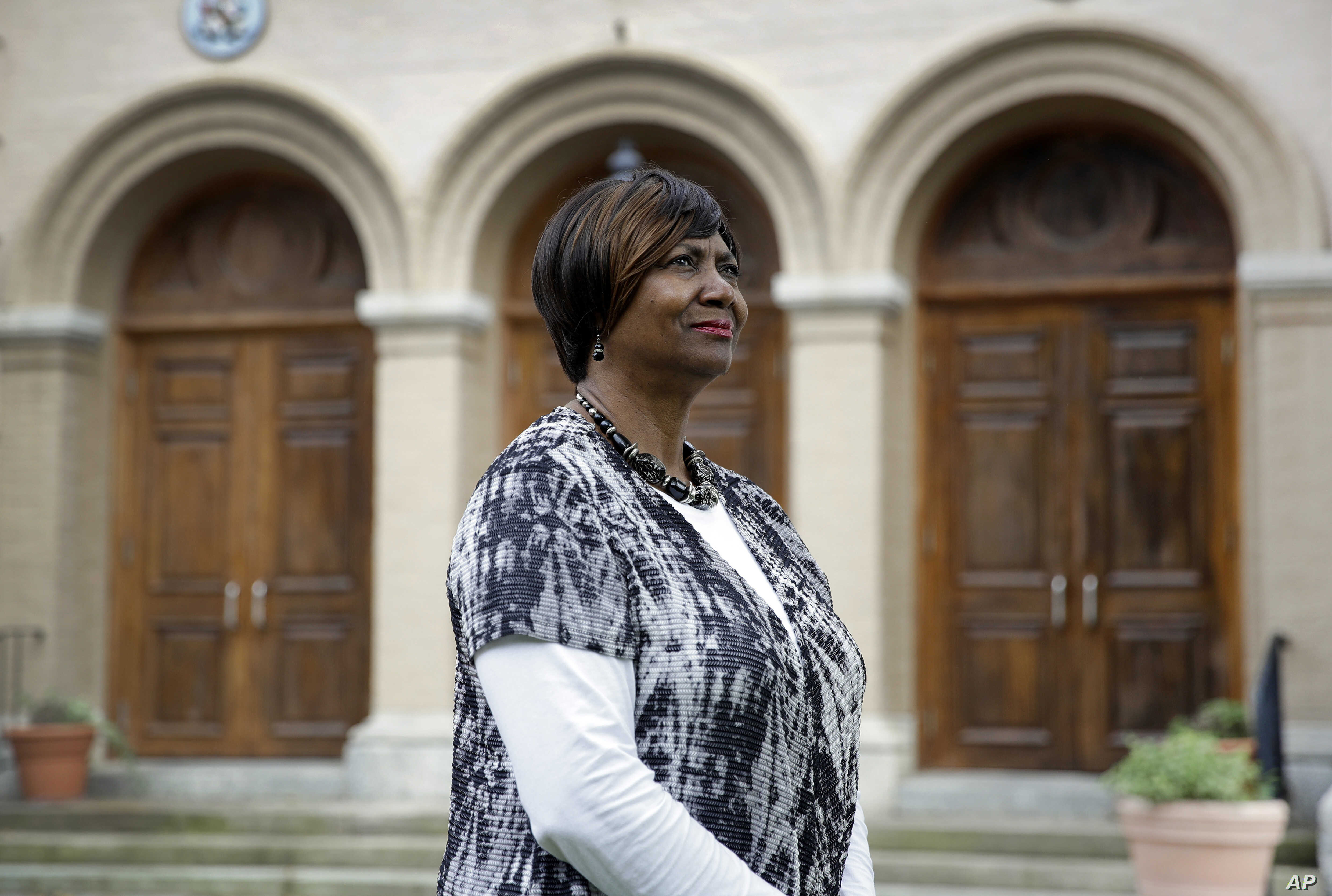 Mayor Victoria Jackson-Stanley poses for a photograph outside the Dorchester County Courthouse in Cambridge, Maryland, a stop on the Harriet Tubman Underground Railroad Byway, May 25, 2017.
