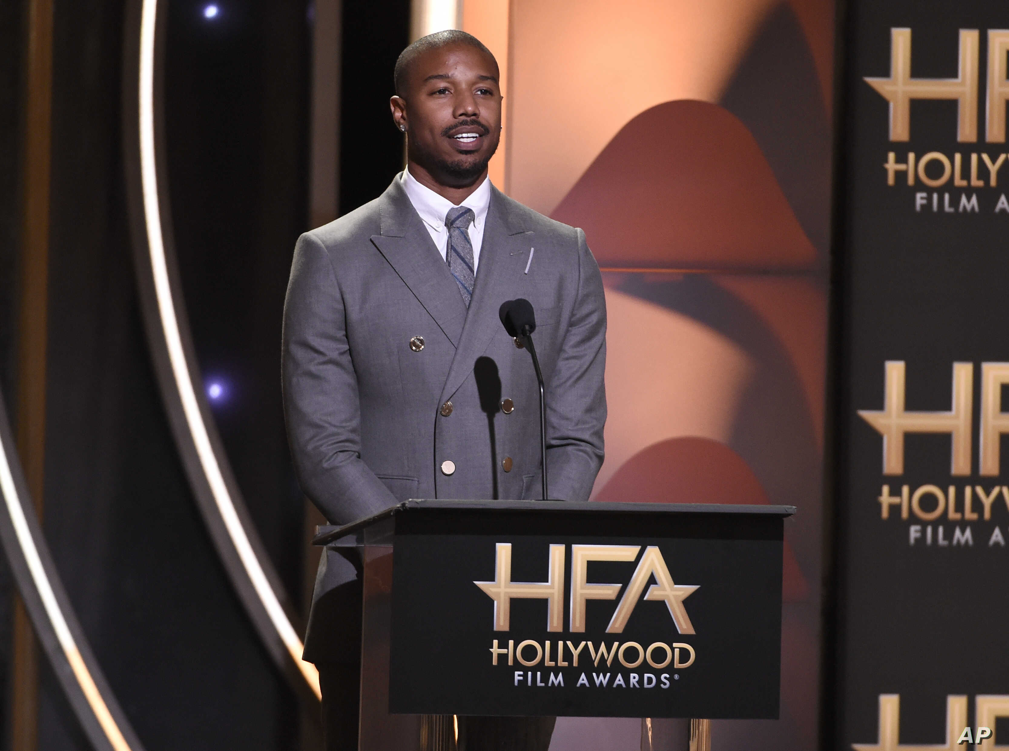 """Michael B. Jordan presents the Hollywood film award to """"Black Panther"""" at the Hollywood Film Awards on Nov. 4, 2018, at the Beverly Hilton Hotel in Beverly Hills, California."""