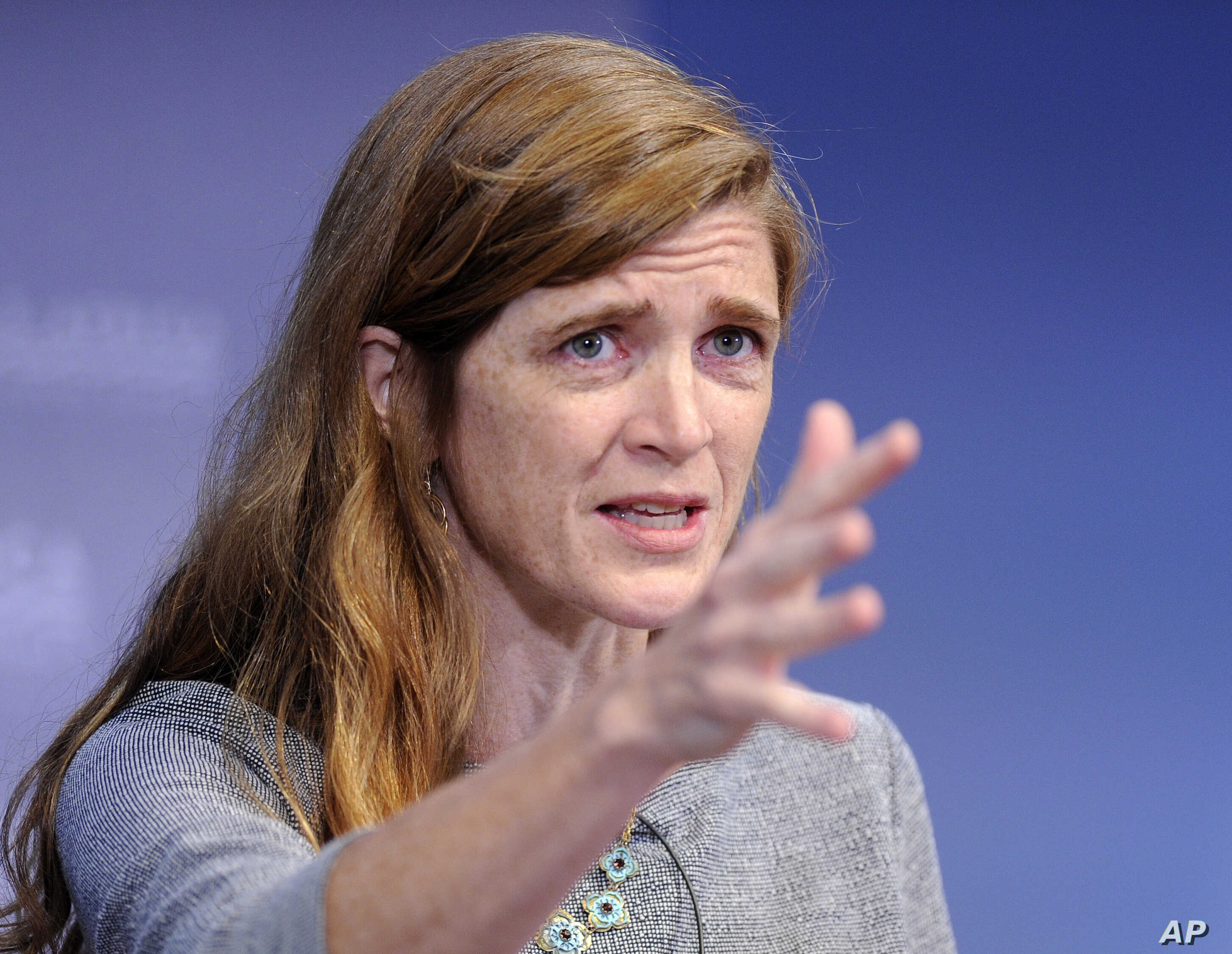U.S. Ambassador to the U.N. Samantha Power speaks during the Civil Society Forum as part of the 2014 U.S. Africa Summit  in Washington, Aug. 4, 2014.