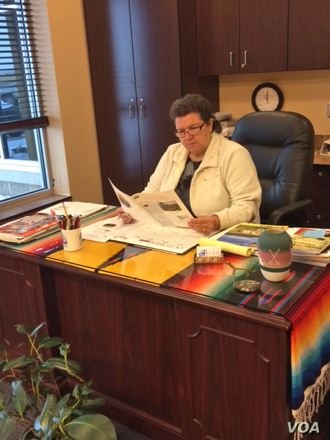 Dr. Laurel Vermillion, Sitting Bull College President, Fort Yates, North Dakota, Dec. 1, 2014. (Aru Pande/VOA)