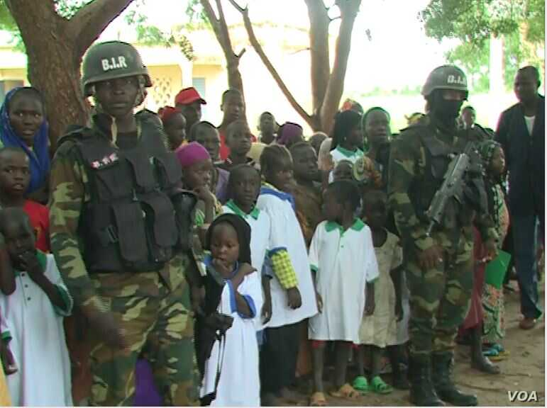 Members of the military are seen guarding the school in Limani, Cameroon. (M.E. Kinzeka/VOA)