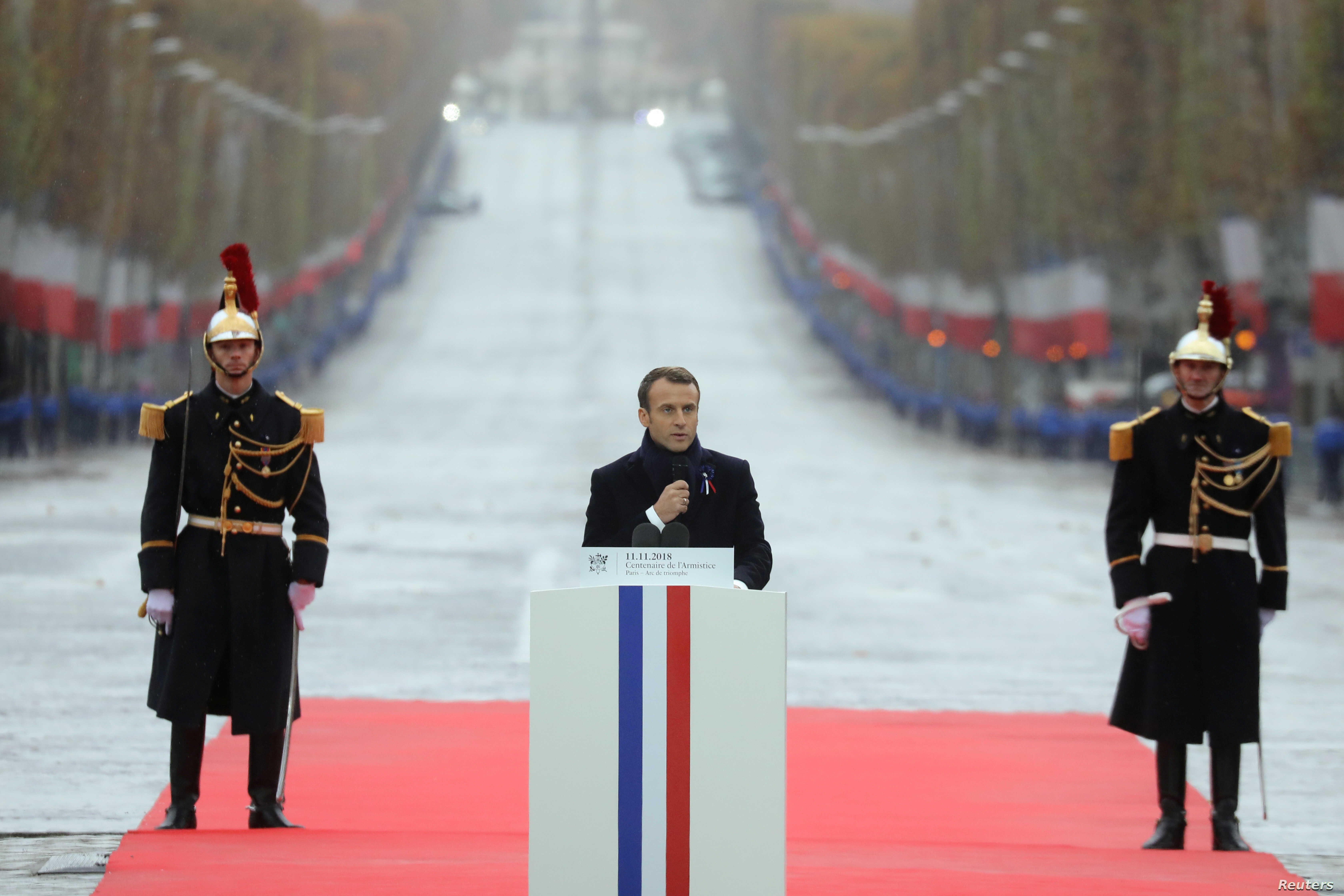 French President Emmanuel Macron delivers a speech during a commemoration ceremony for Armistice Day, 100 years after the end of the First World War at the Arc de Triomphe, in Paris, Nov. 11, 2018.