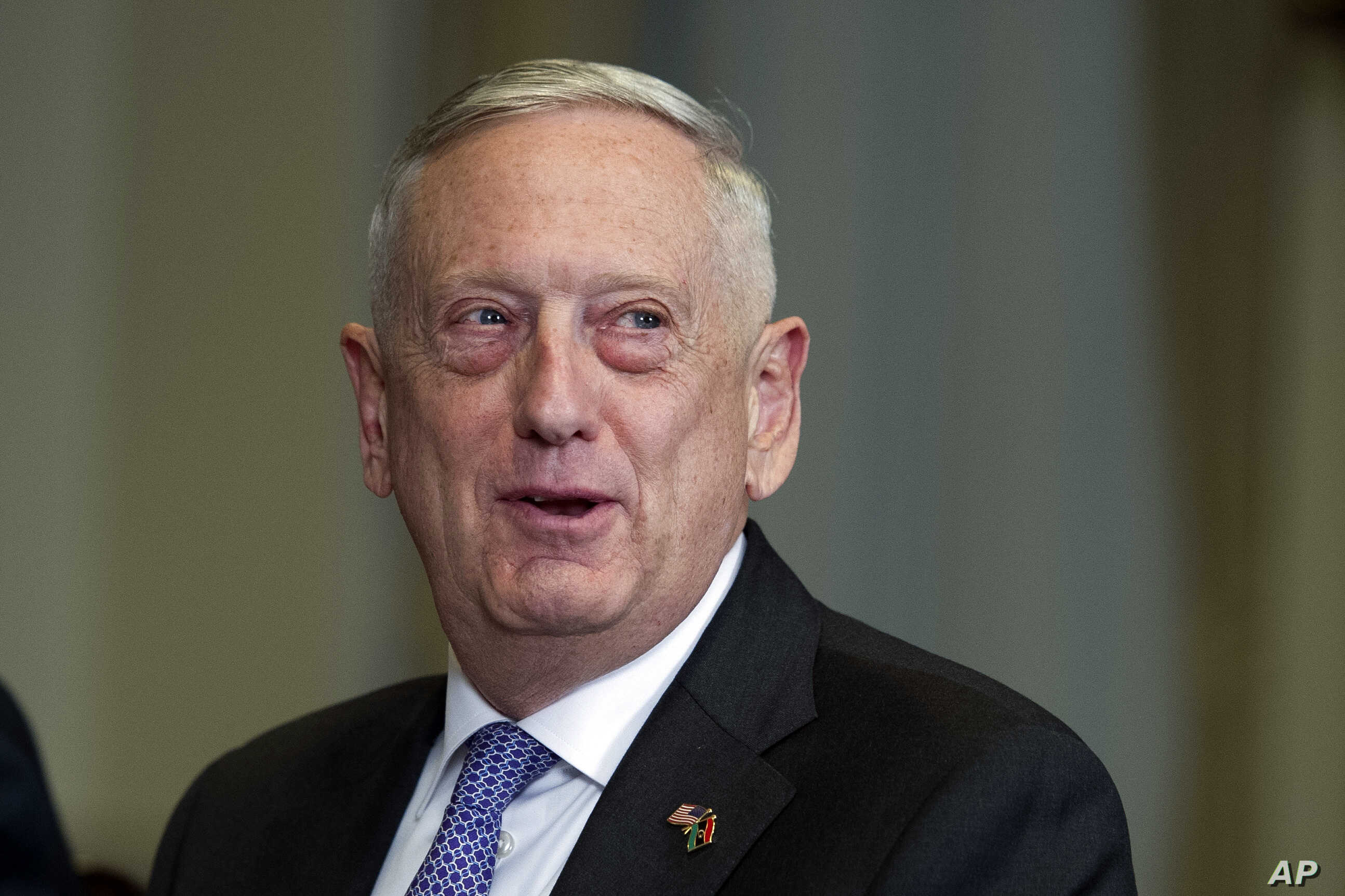 Defense Secretary Jim Mattis responds to a reporter's question during a meeting with Libyan Prime Minister Fayez Serraj at the Pentagon, Nov. 30, 2017.