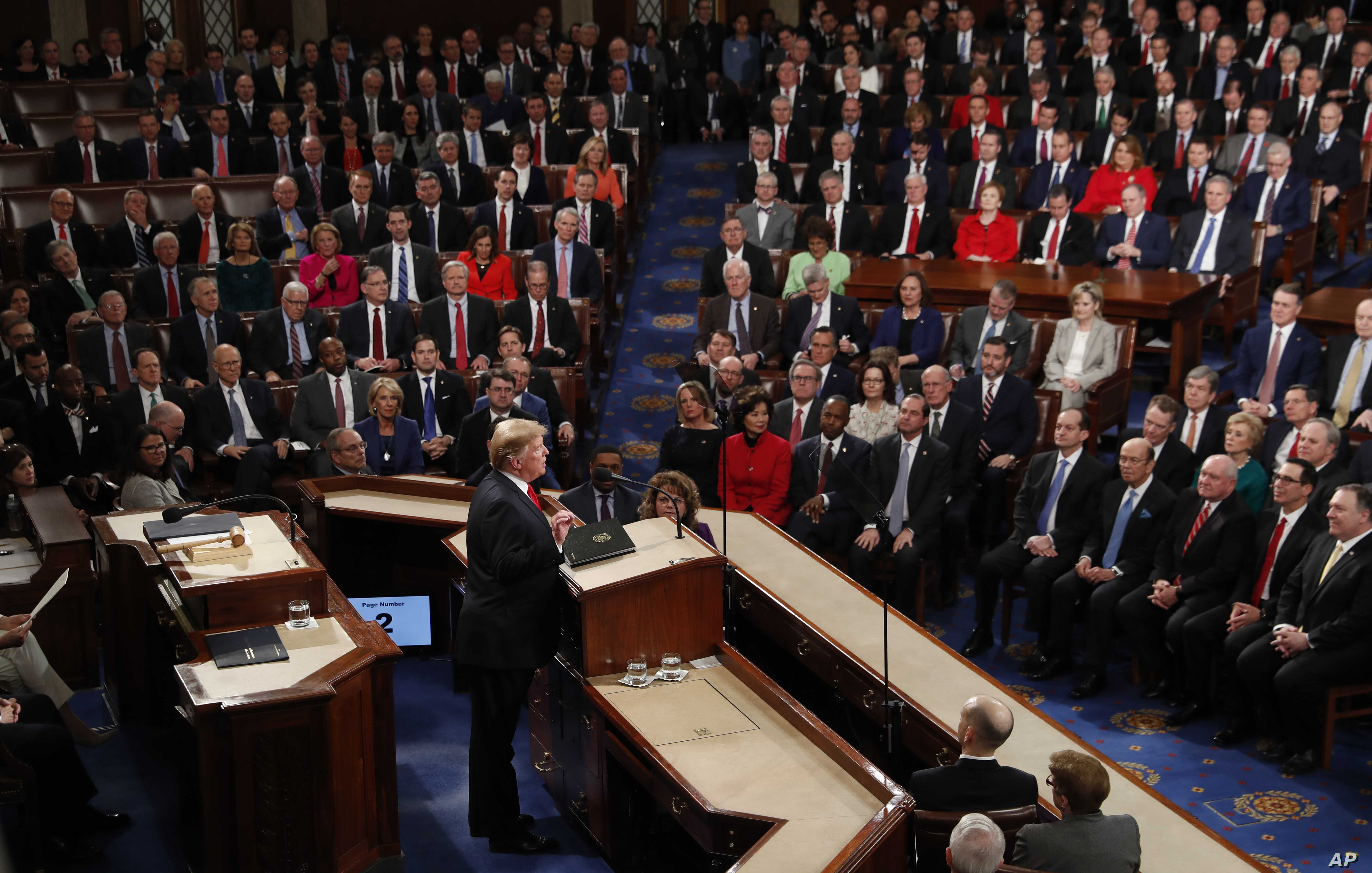 President Donald Trump delivers his State of the Union address to a joint session of Congress on Capitol Hill in Washington,Feb. 5, 2019.