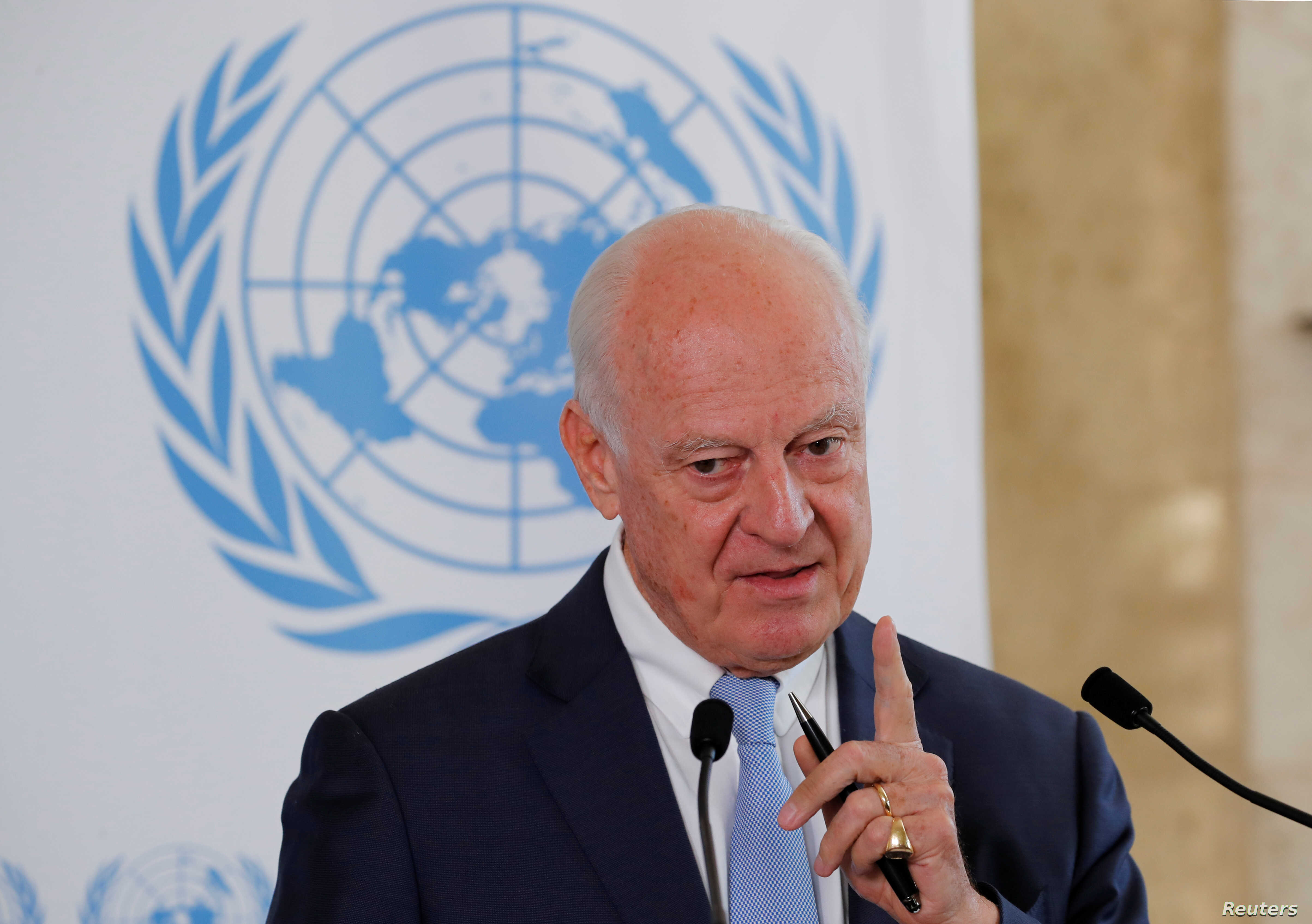 U.N. Syria envoy Staffan de Mistura attends a news conference at the United Nations in Geneva, Switzerland, Sept. 4, 2018.