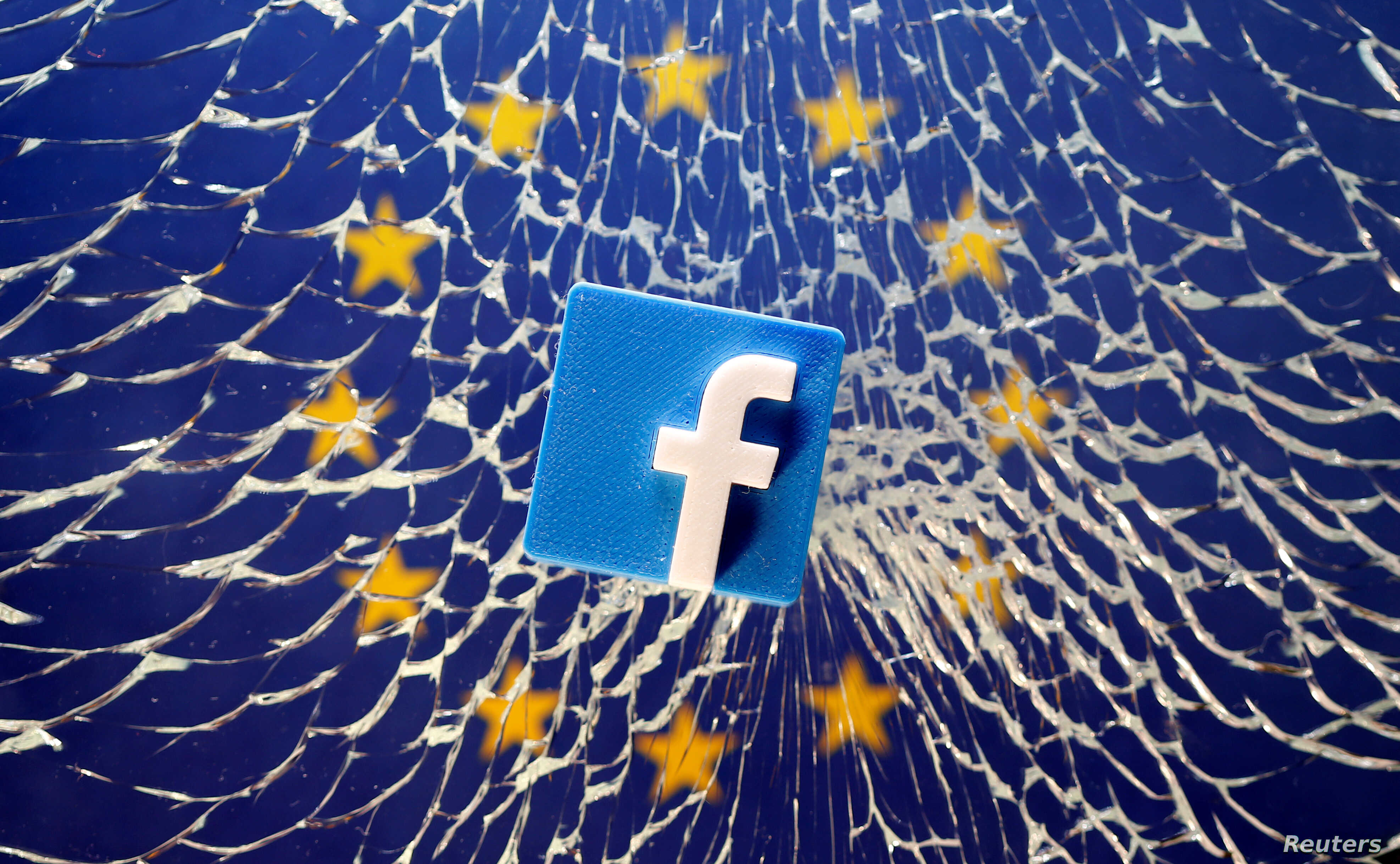567085d110b2 FILE - An illustration shows a 3-D-printed Facebook logo placed on broken  glass above a printed EU flag.