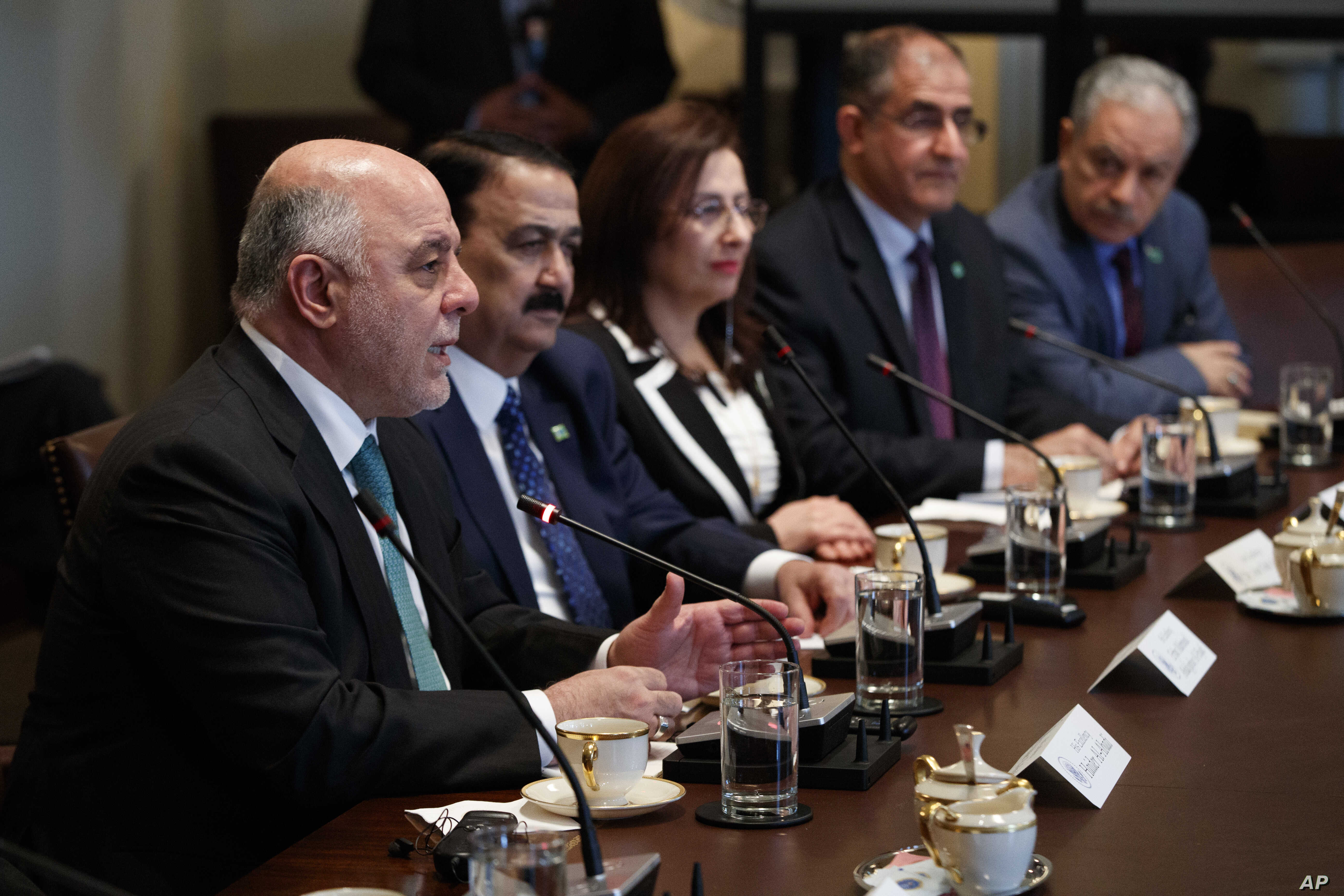 Iraqi Prime Minister Haider al-Abadi speaks during a meeting with President Donald Trump in the Cabinet Room of the White House, March 20, 2017.