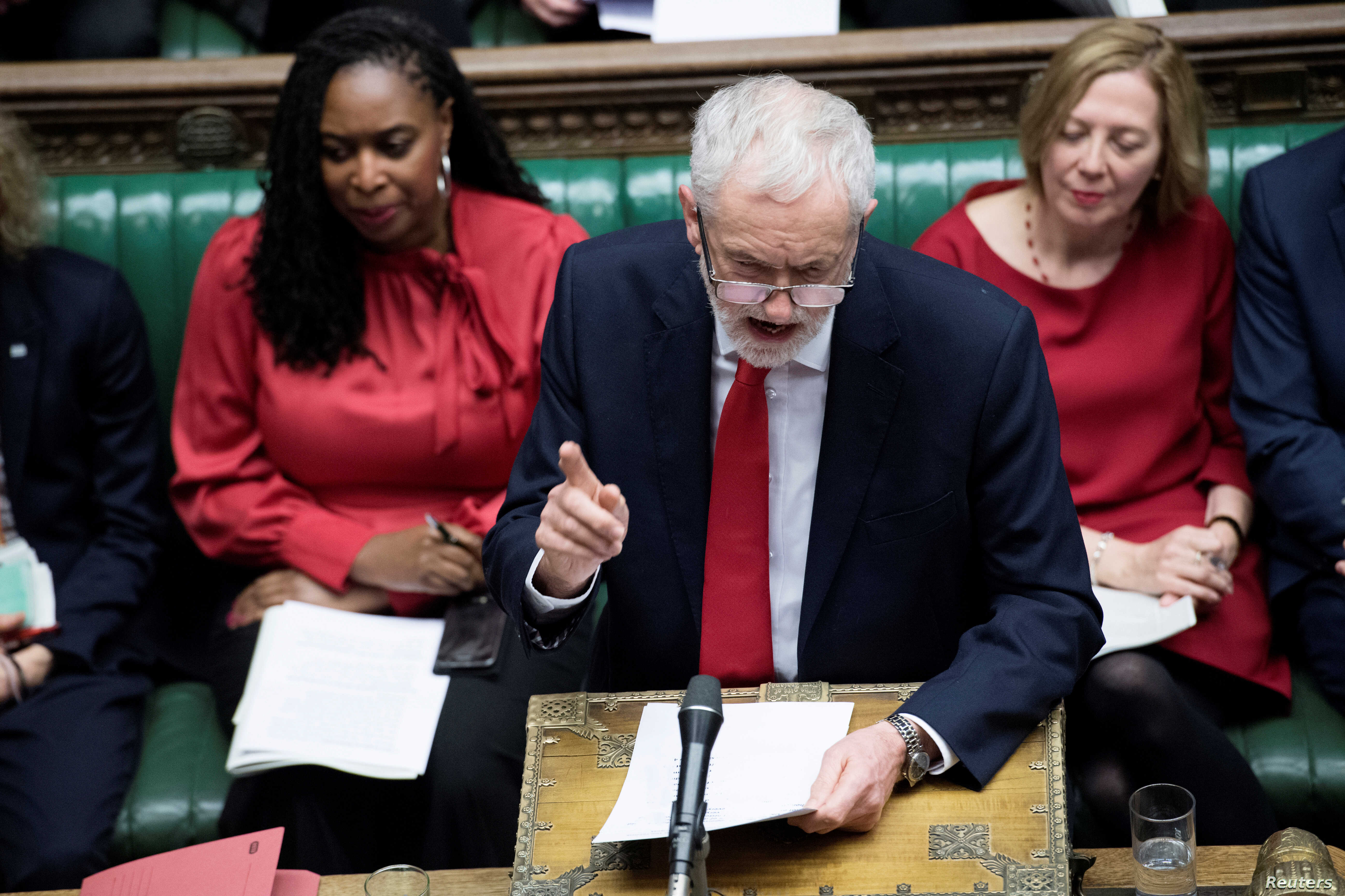 Jeremy Corbyn, Leader of the Labor Party, talks during a no-confidence debate after Parliament rejected Theresa May's Brexit deal, in London, Jan. 16, 2019.